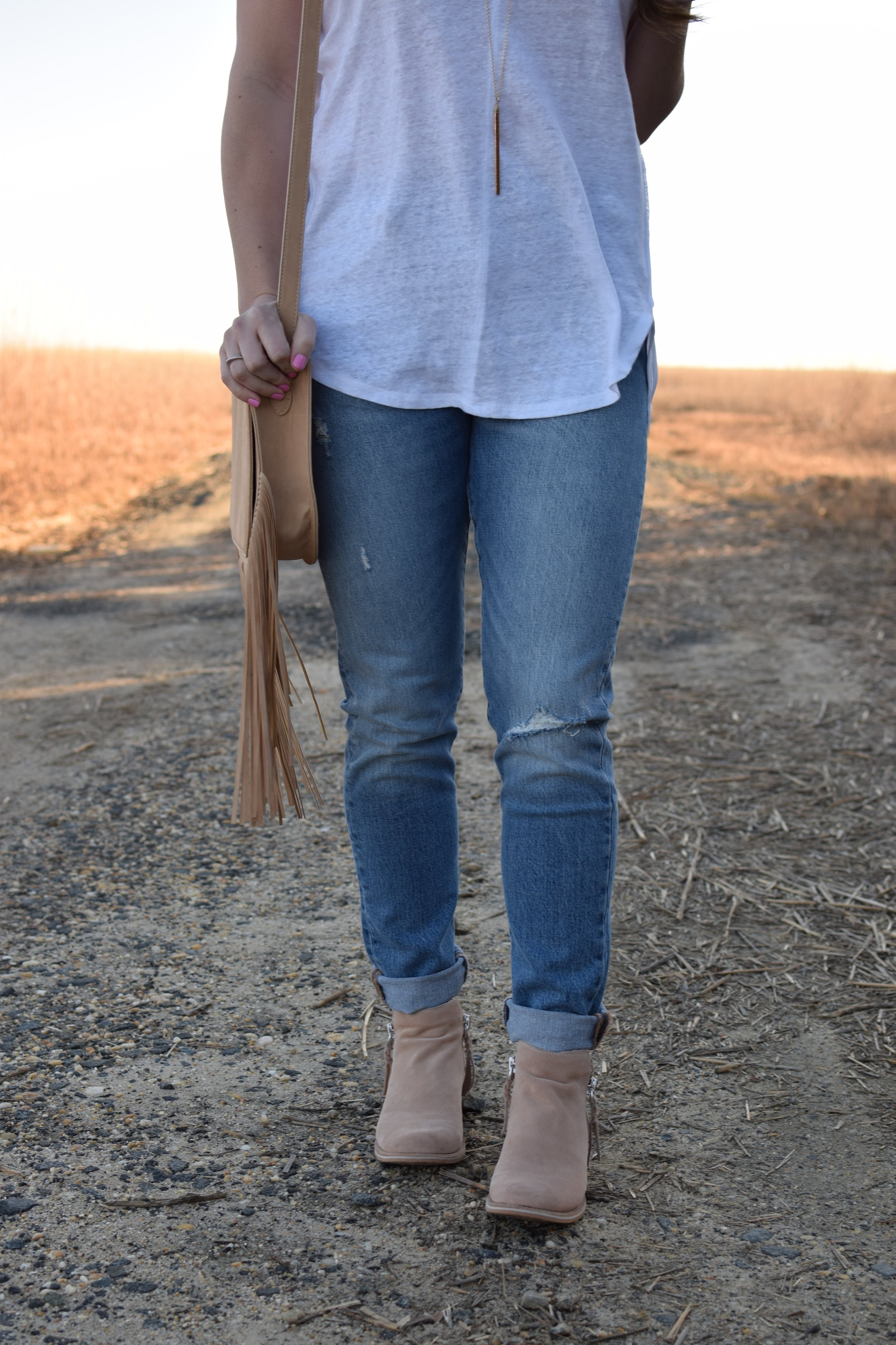 spring transition outfit idea / distressed denim / levi's