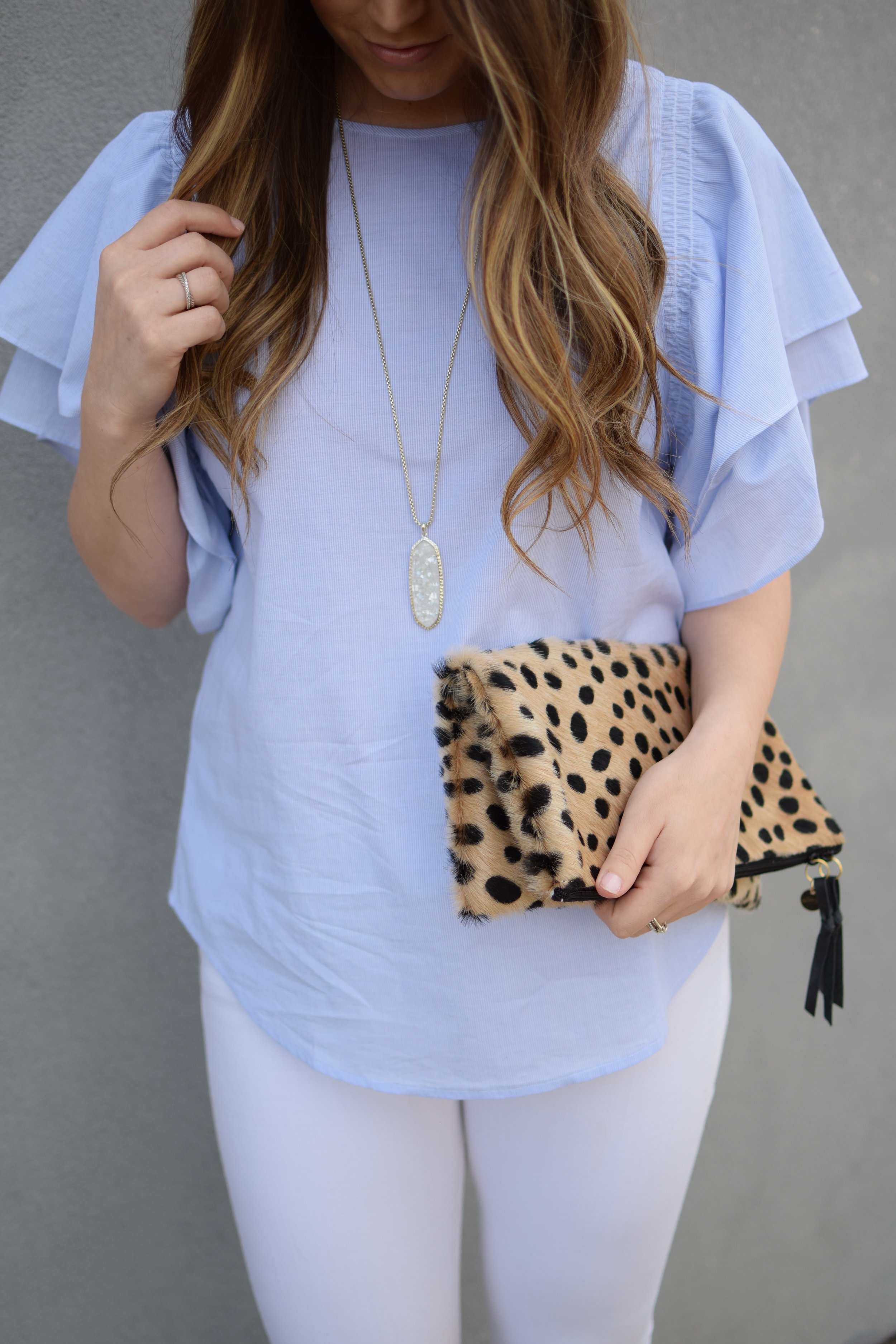 easter outfit idea / ruffle top + cheetah clutch
