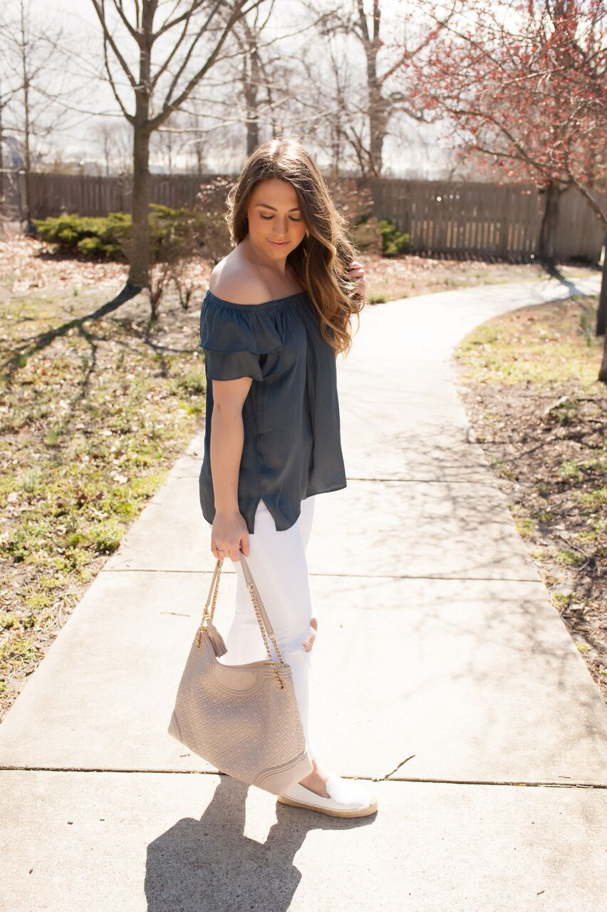 spring outfit idea, off the shoulder top, white denim, espadrilles