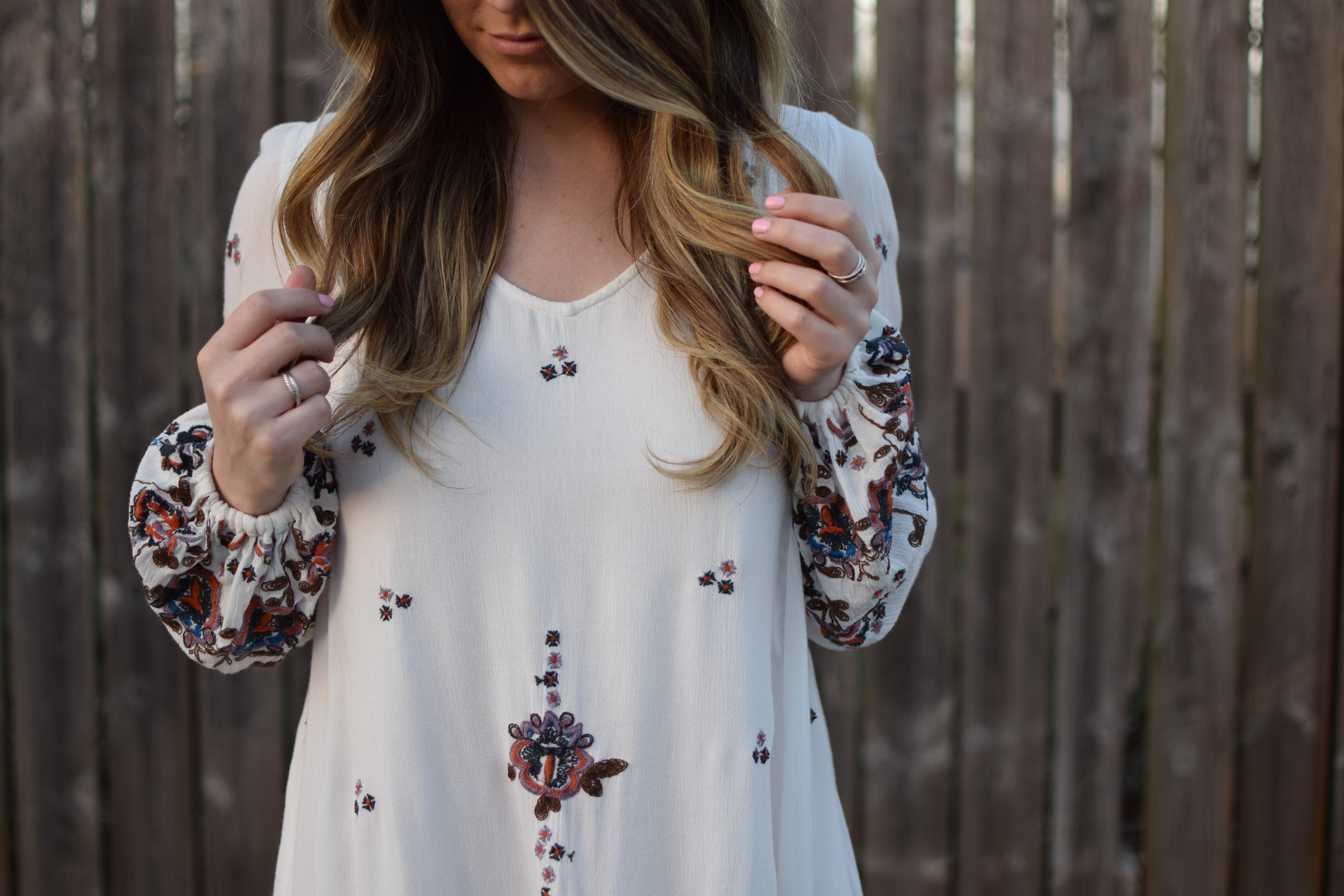 spring outfit idea / embroidered dress