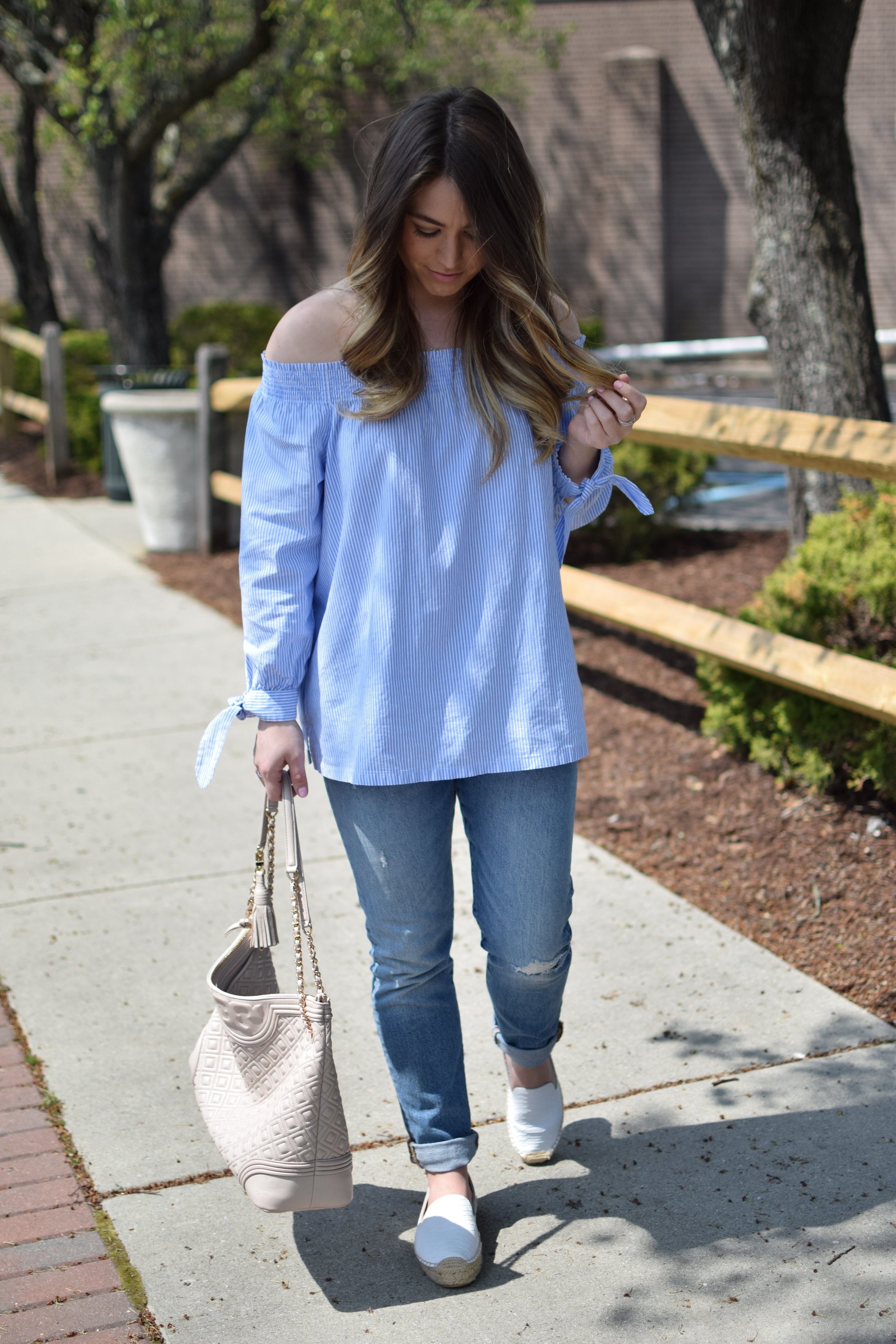 spring outfit idea / striped off the shoulder top