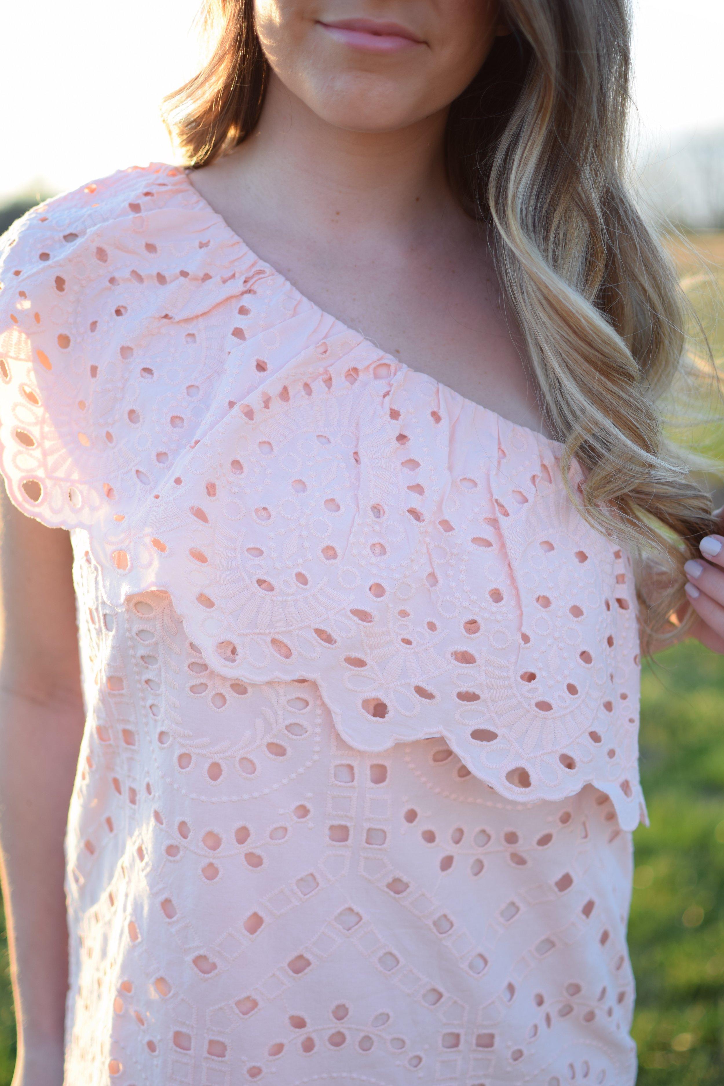 blush one shoulder dress / spring outfit idea / guest of wedding dress idea