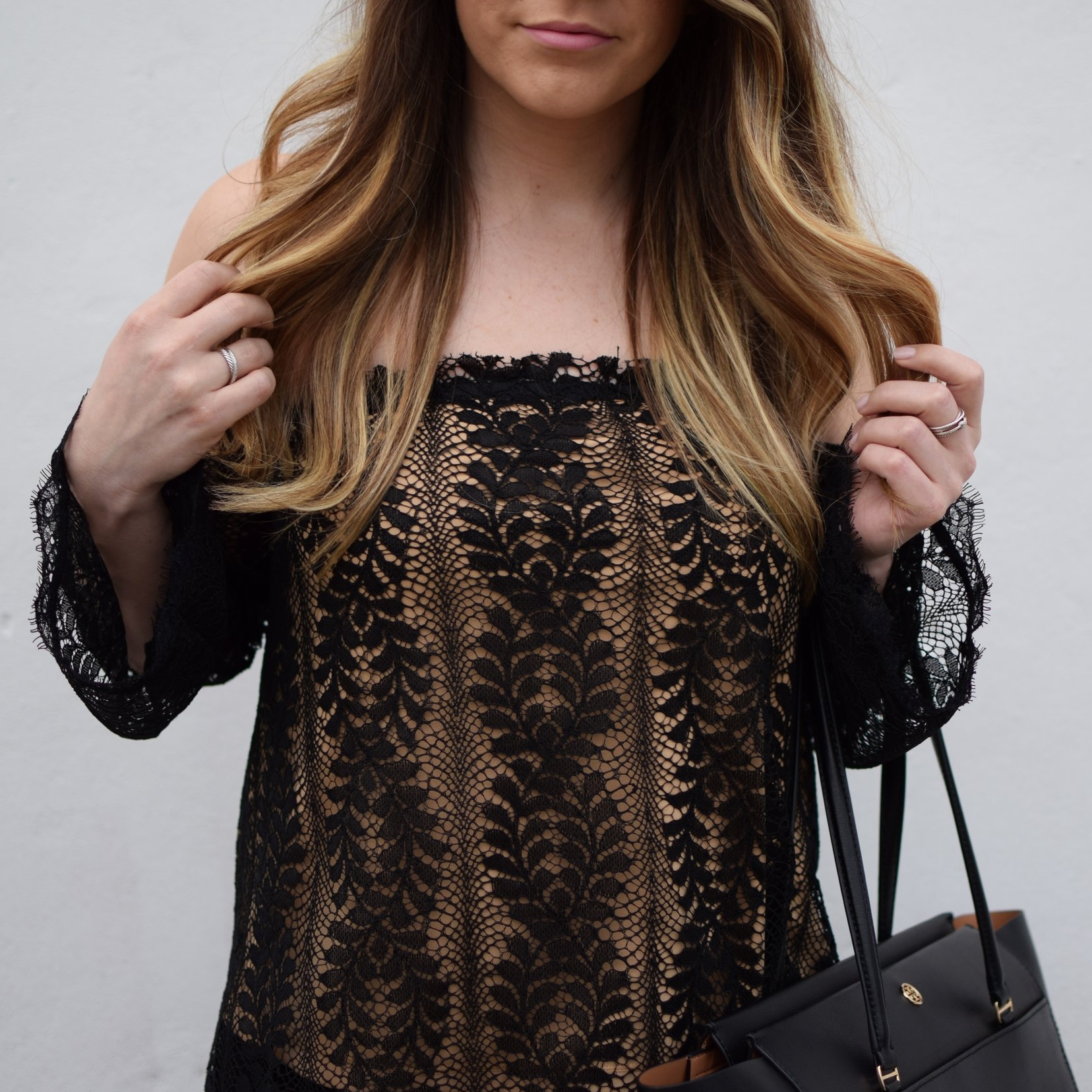 date night outfit idea / off the shoulder lace top