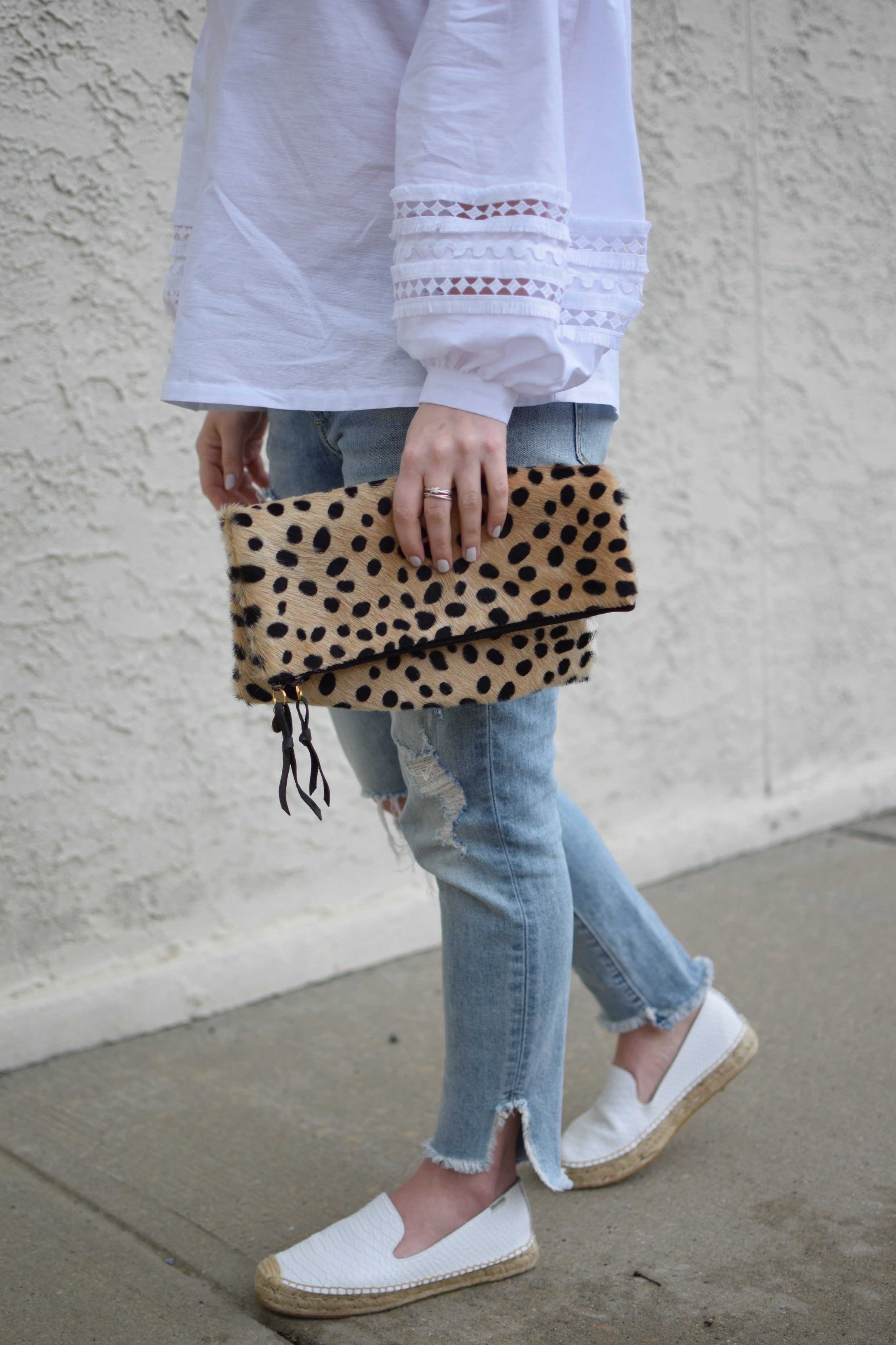 spring outfit idea / cheetah clutch