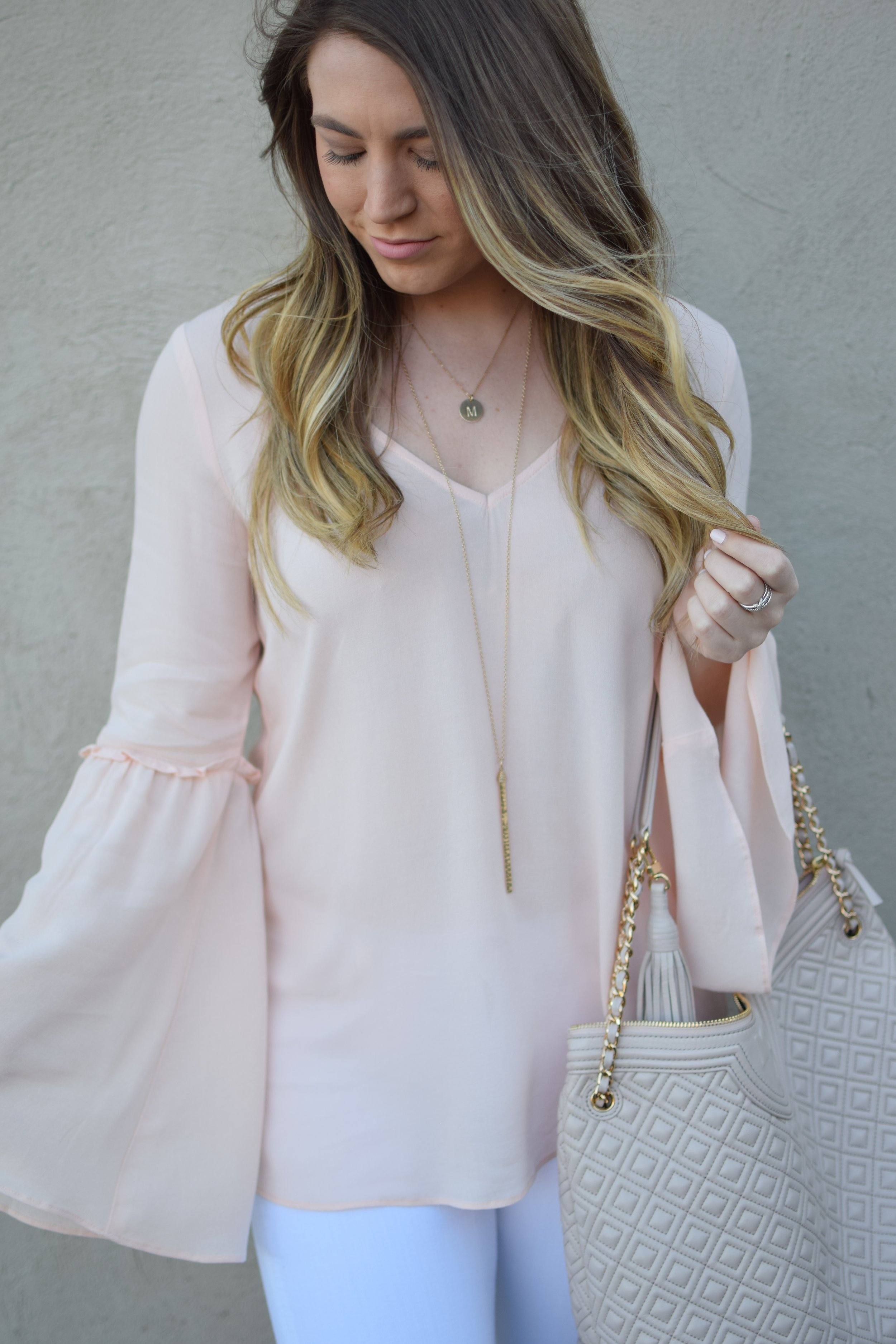 blush bell sleeve top / nashelle layered necklaces / spring outfit idea / balayage summer hair