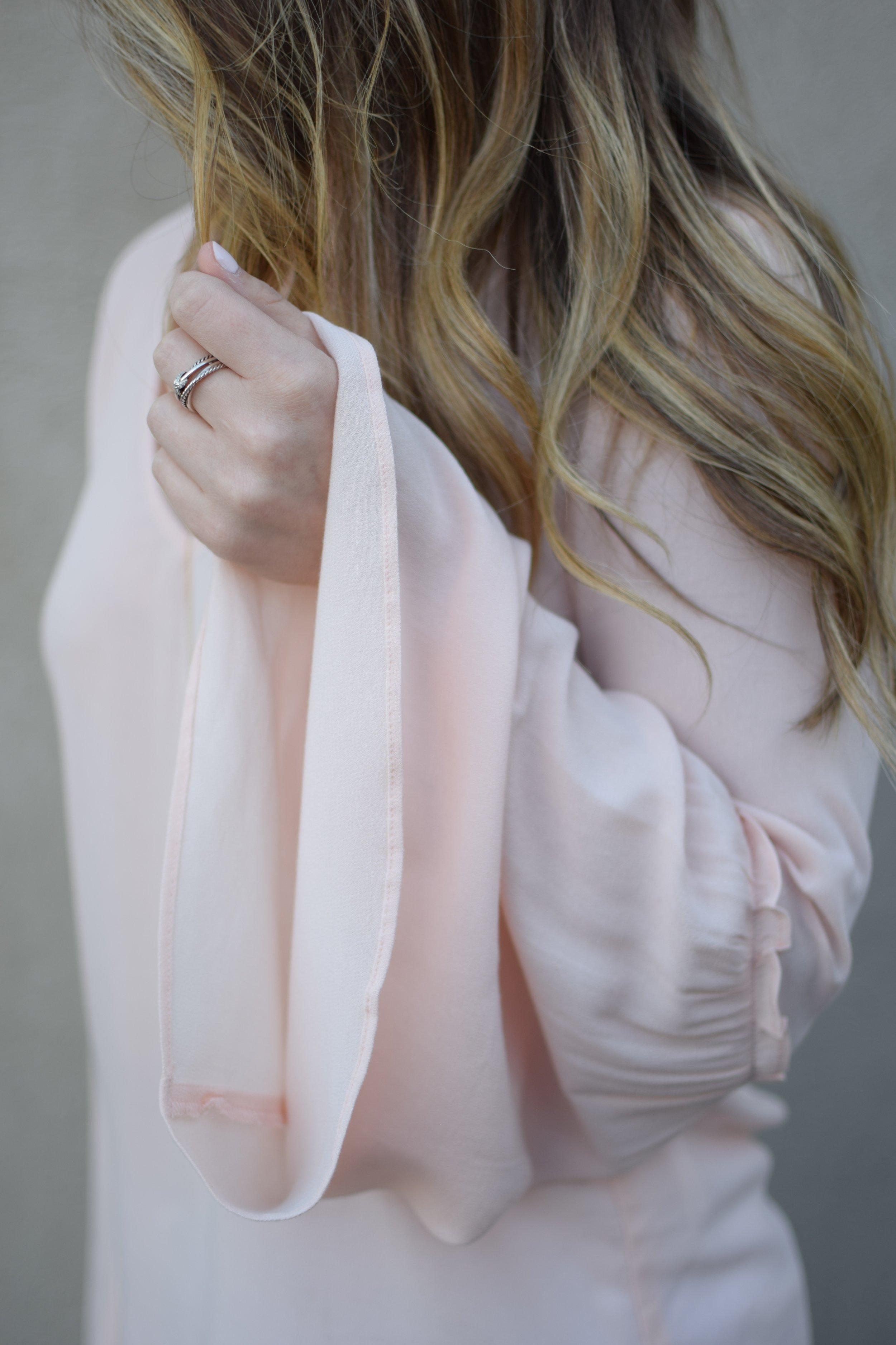 blush bell sleeve top / david yurman ring / spring outfit idea / balayage summer hair