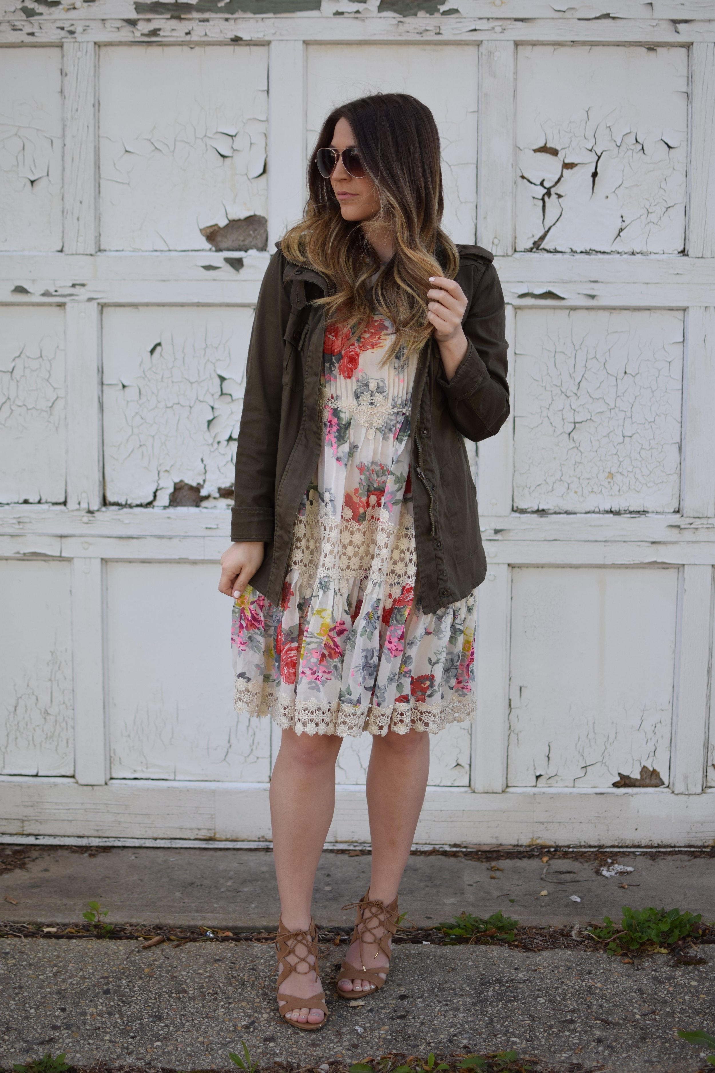 anthropology floral & lace dress / spring & summer outfit idea / guest of wedding dress idea / how to style a utility jacket