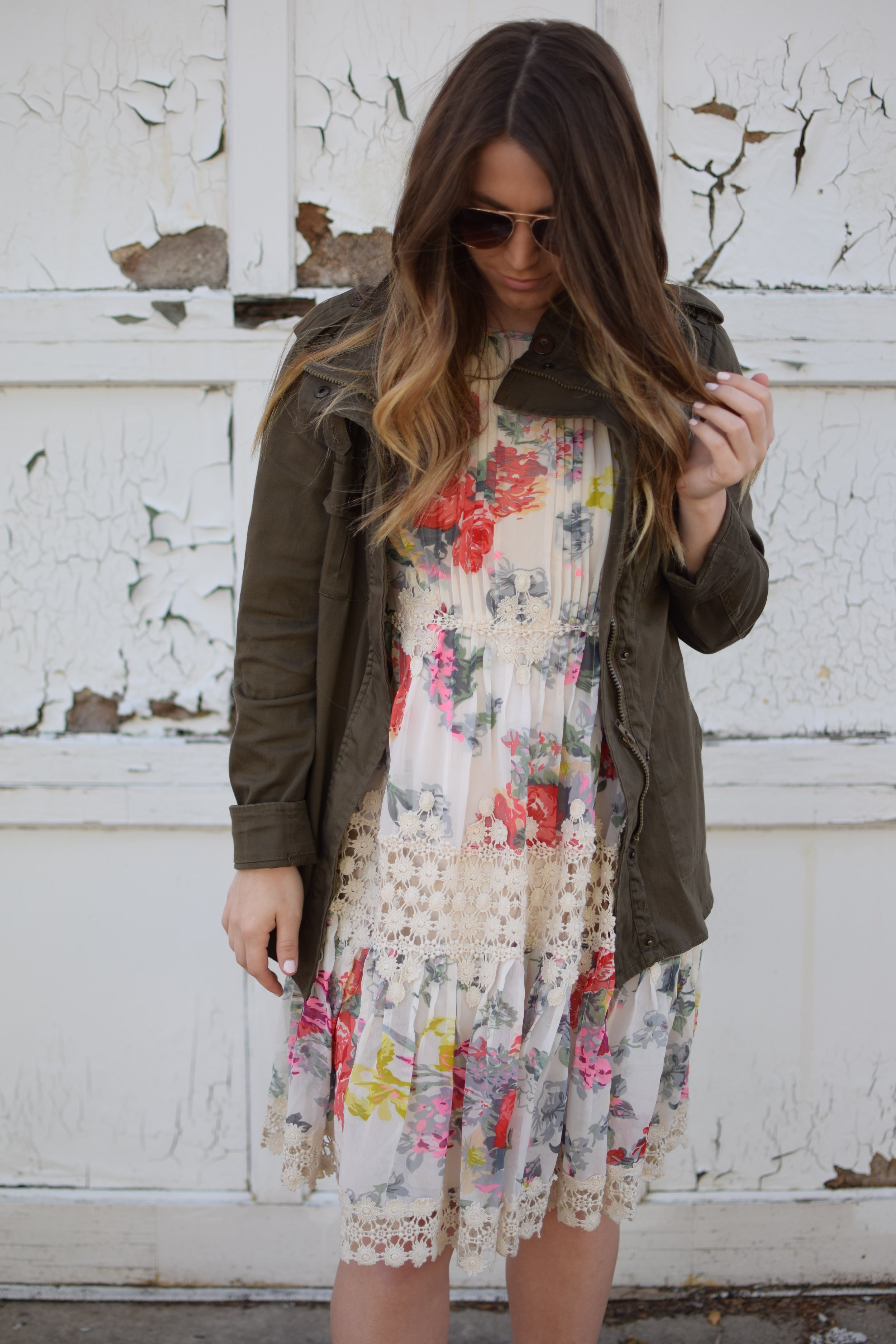 anthropology floral and lace dress / spring & summer outfit idea / utility jacket