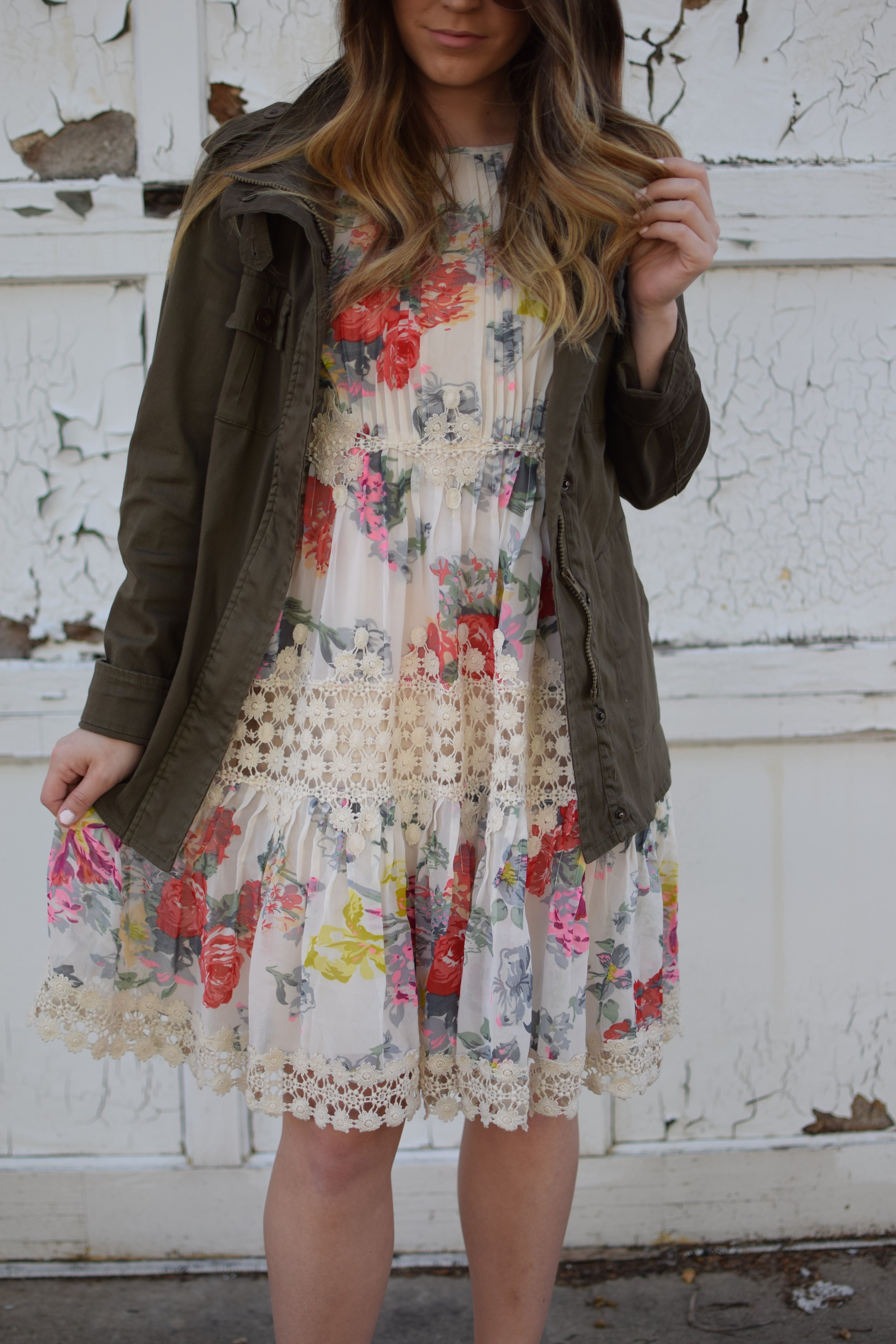 anthropology floral & lace dress / spring & summer outfit idea / utility jacket