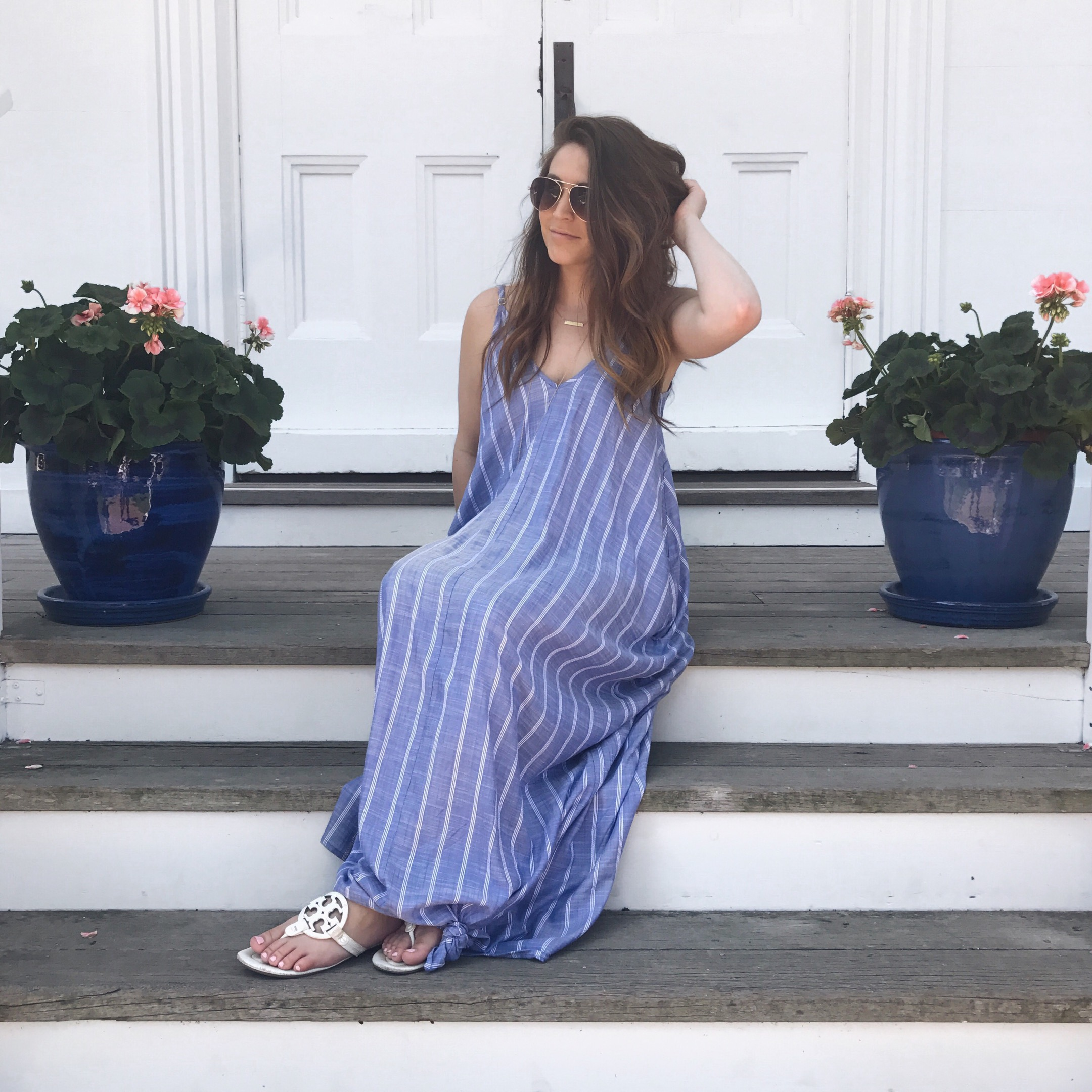 summer outfit idea / blue & white striped maxi dress