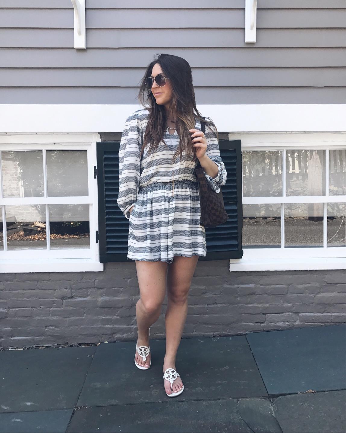 summer outfit idea / blue & white striped romper