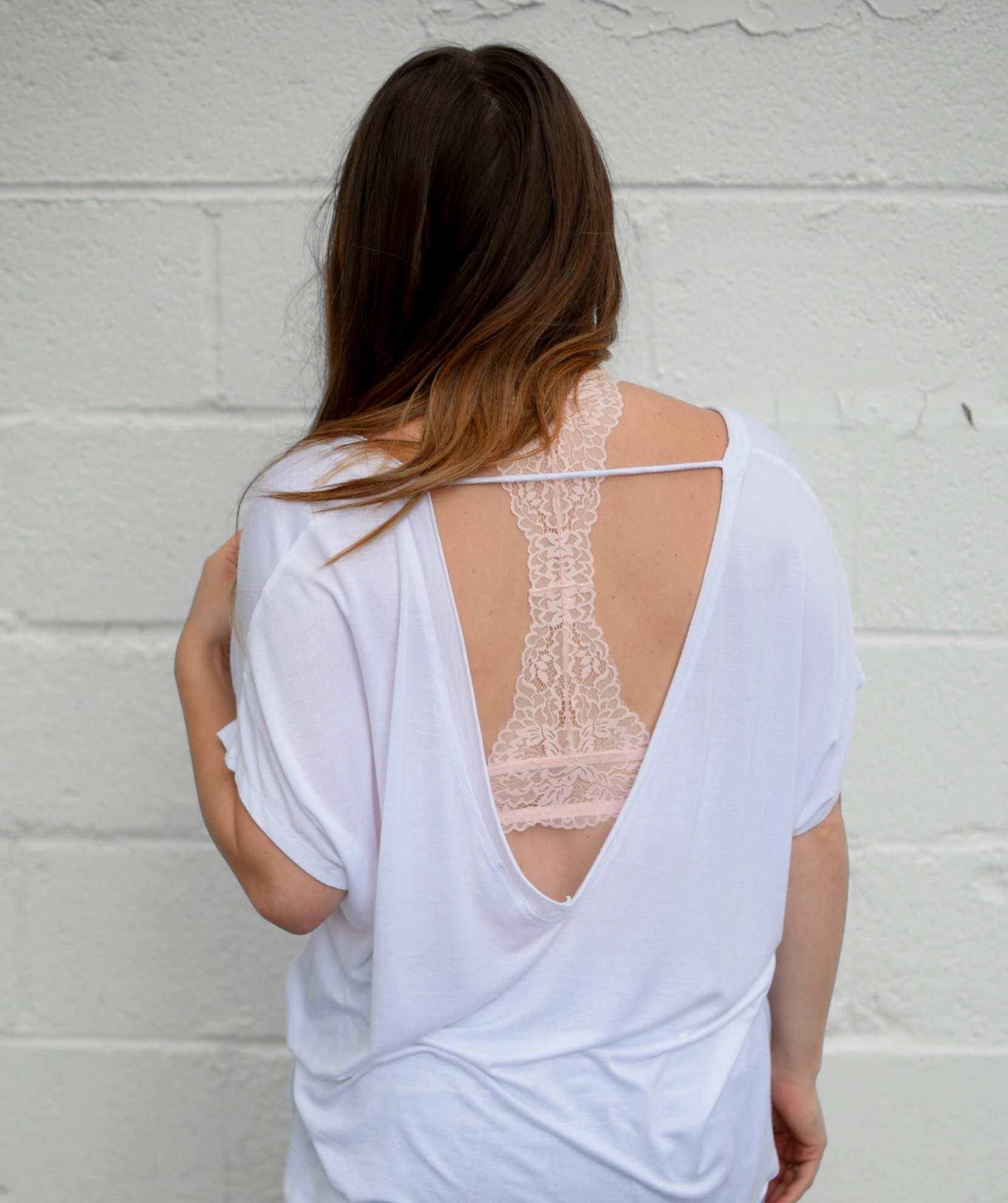 white tee & blush lace bralette