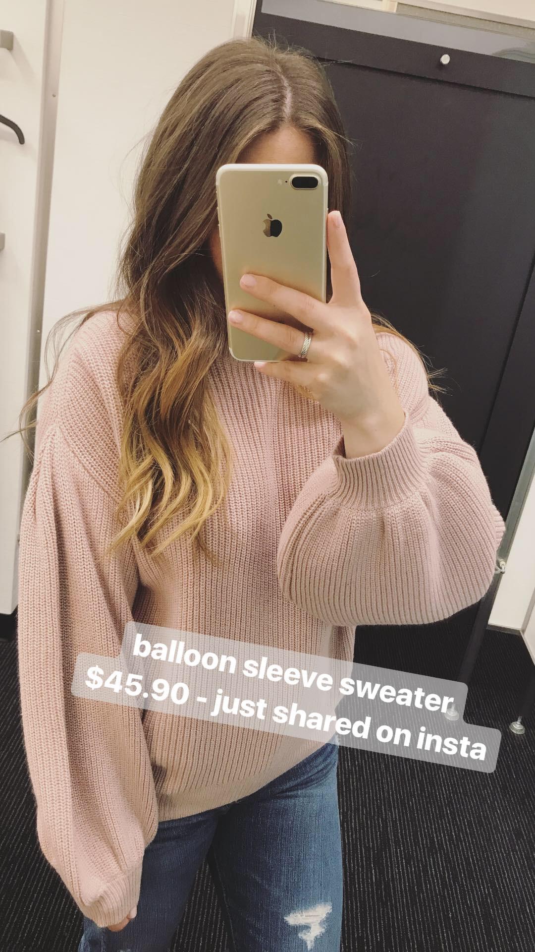 nordstrom anniversary sale, Leith balloon sleeve sweater, ag distressed boyfriend denim