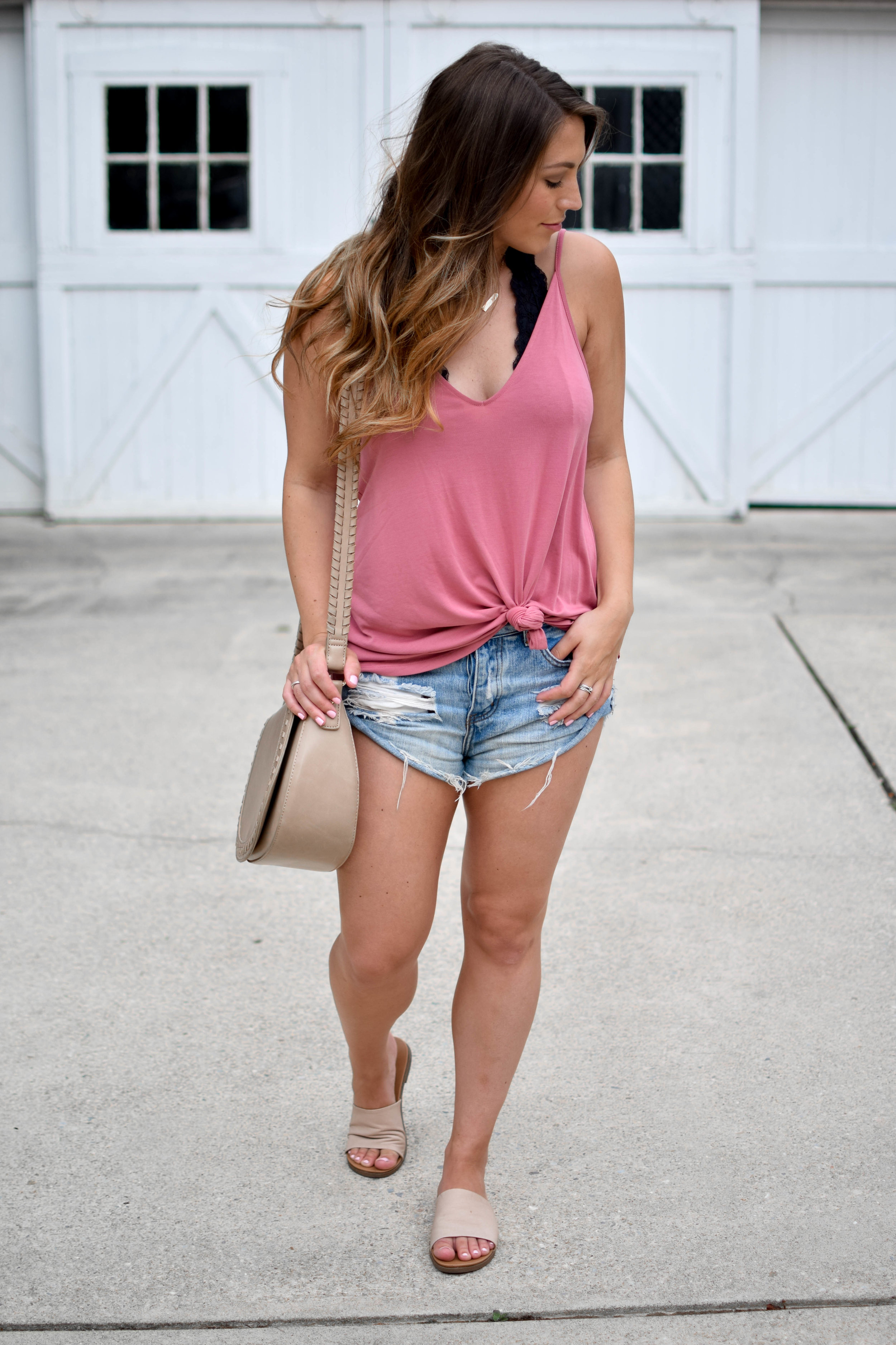 nell + rose pink staycation tank, one teaspoon shorts, Steve Madden slides, sole society cross body bag, summer outfit idea
