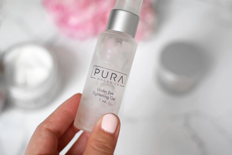 skincare with pura organics // under eye tightening gel
