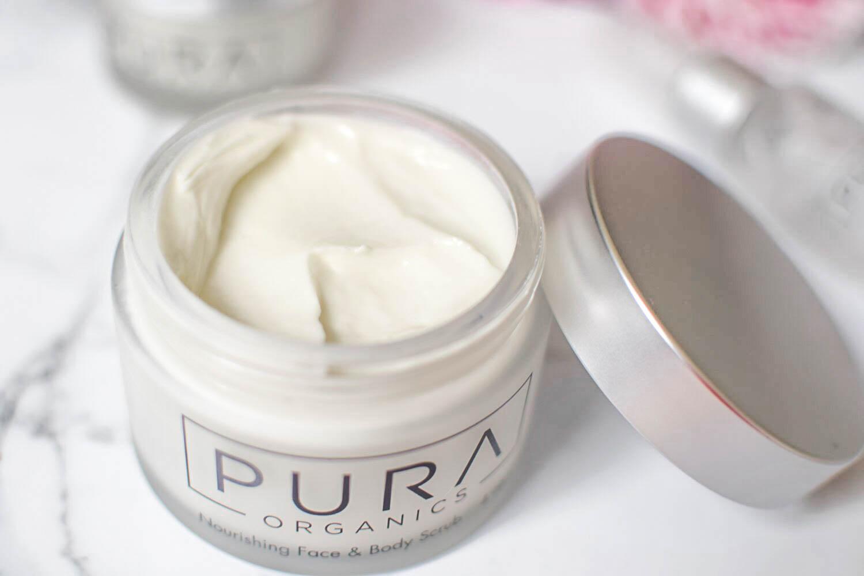 skincare with pura organics // nourishing face and body scrub
