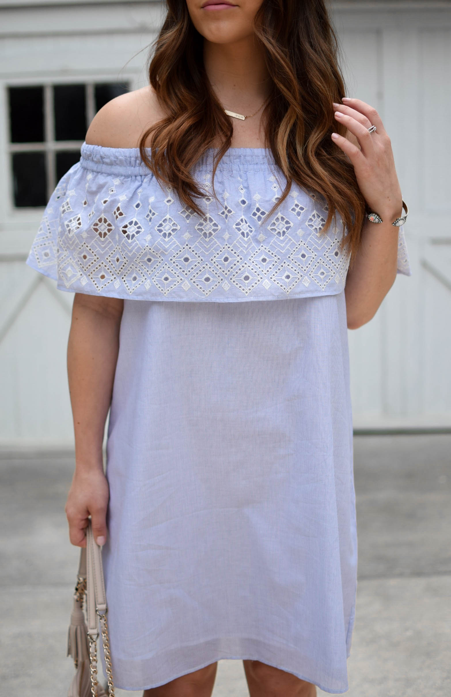 summer outfit idea / eyelet dress / sun dress