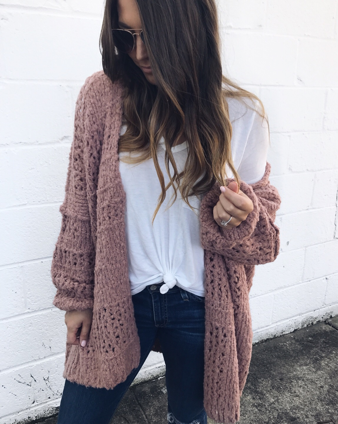 free people cardigan / lush white v neck / fall outfit idea / outfit inspiration