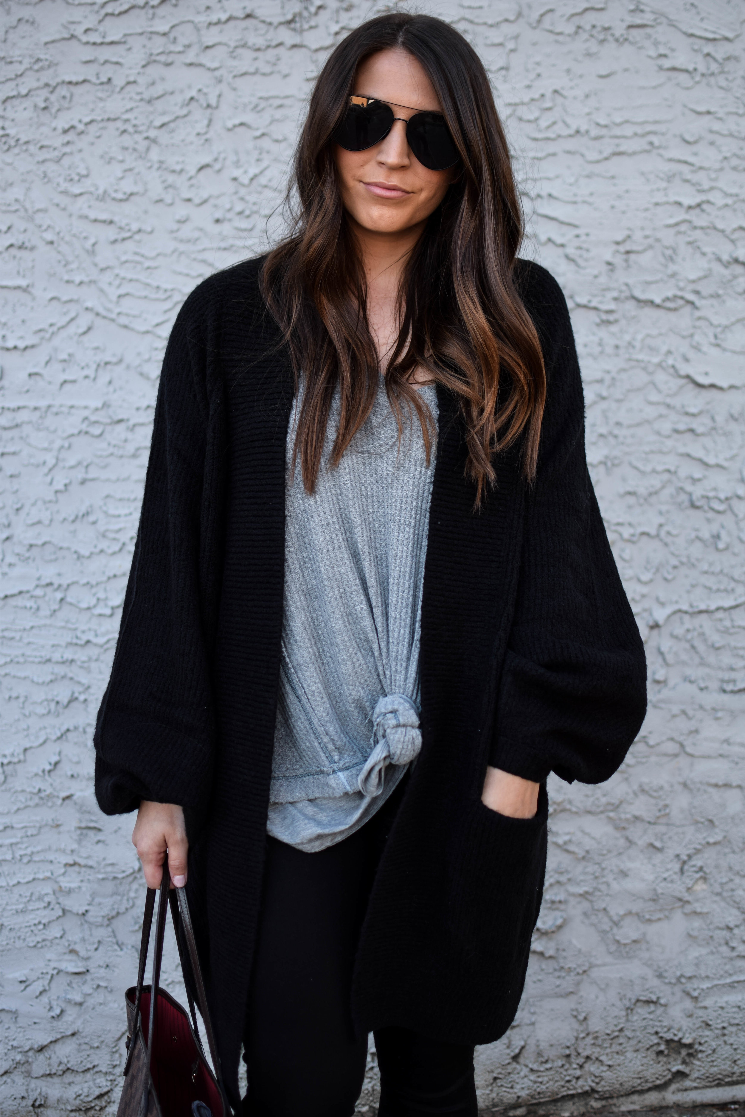 fall fashion / fall outfit idea / fall outfit inspiration / fall feels / fall vibes / long black cardigan with balloon sleeves / black denim / grey thermal / fall layers