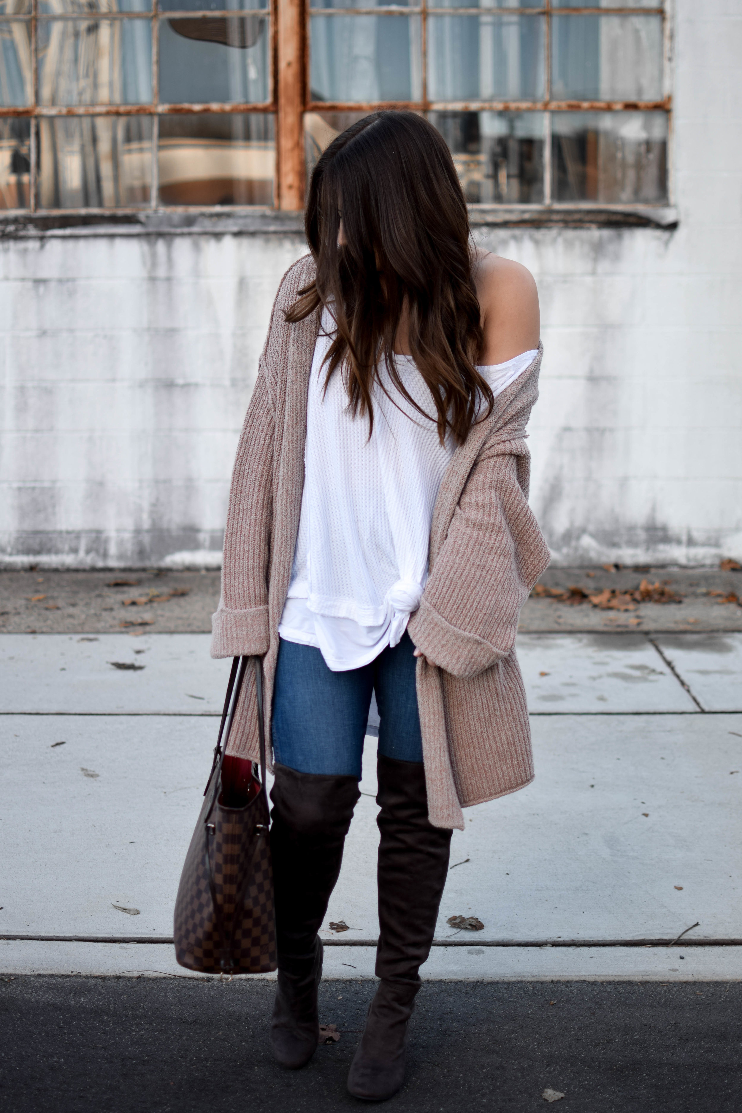 fall fashion / fall outfit idea / fall outfit inspiration / free people thermal / free people cardigan / over the knee boots / fall feels / fall vibes