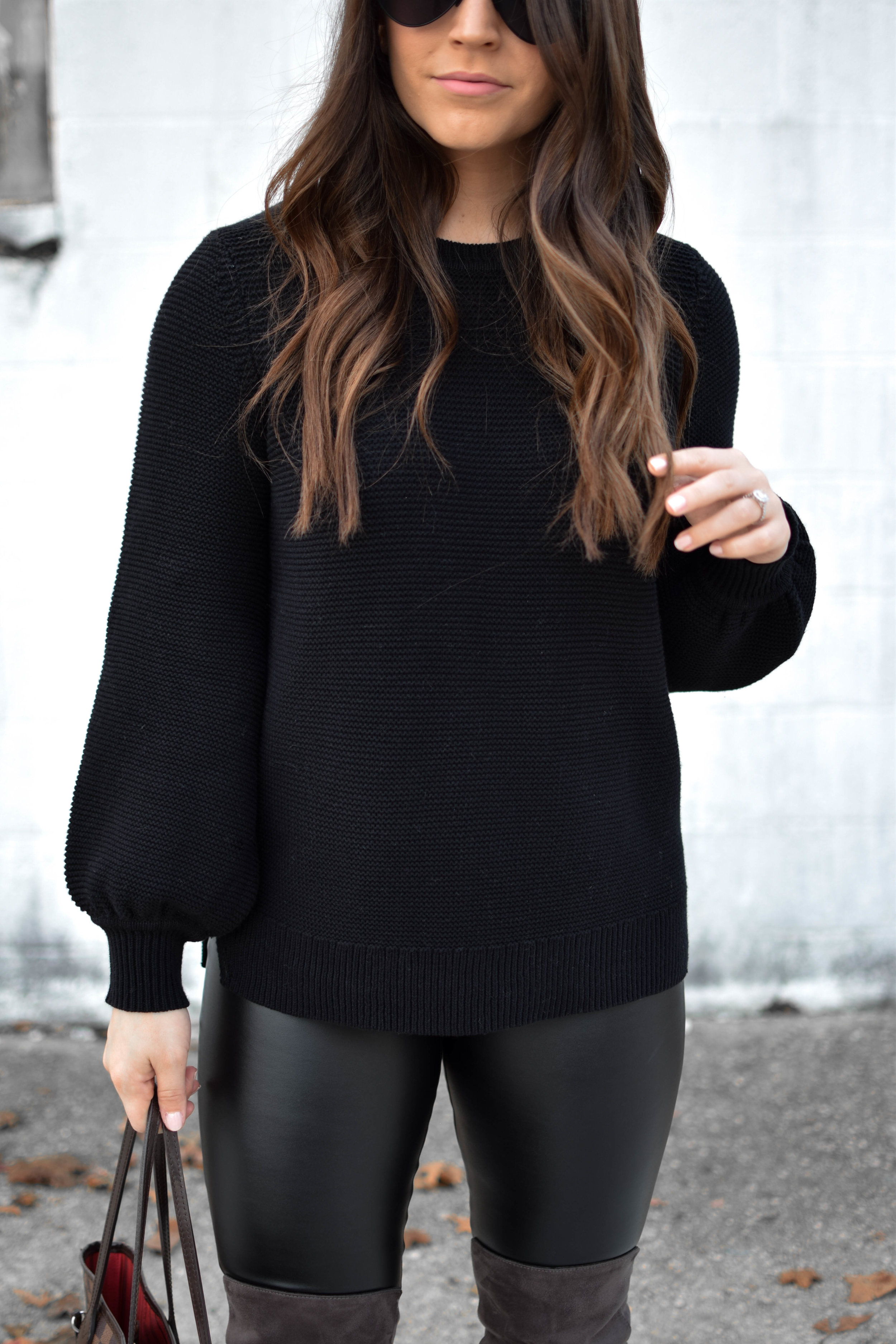 fall fashion / fall outfit idea / winter fashion / winter outfit idea / how to style faux leather leggings / how to style over the knee boots / all black outfit idea