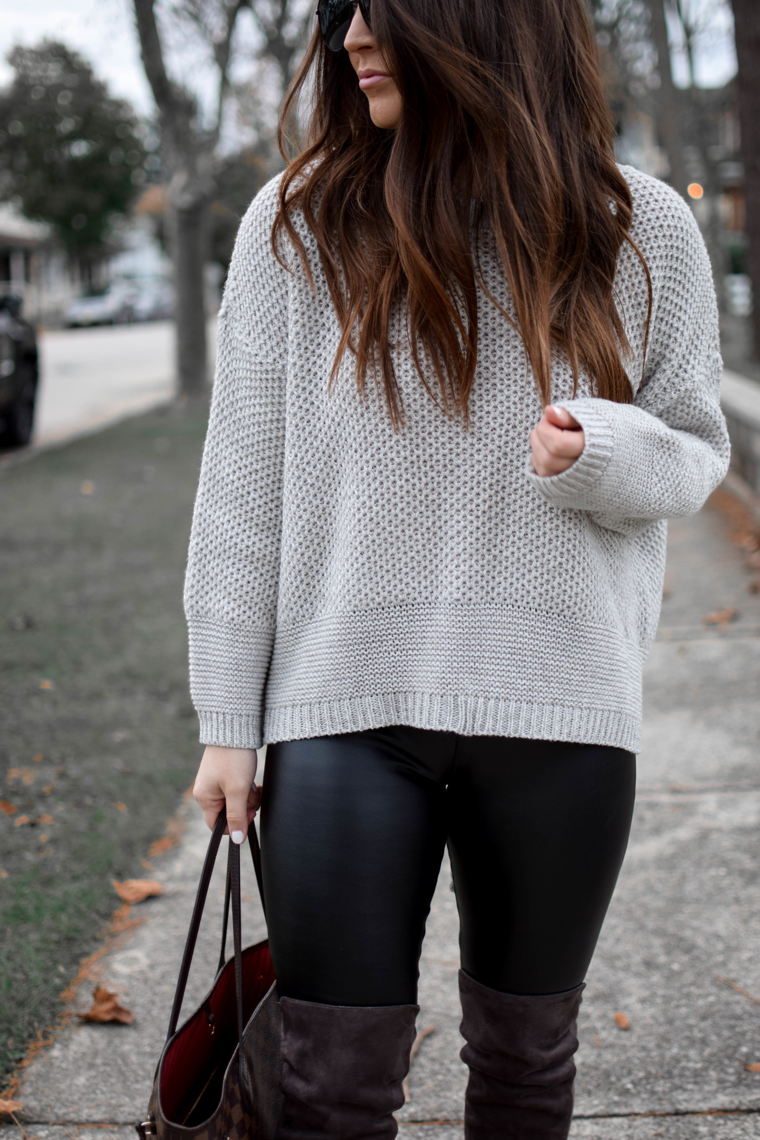 Faux Leather Leggings + Lace Up Sweater   Pine Barren Beauty   fall fashion, fall outfit idea, fall outfit inspiration, thanksgiving outfit idea
