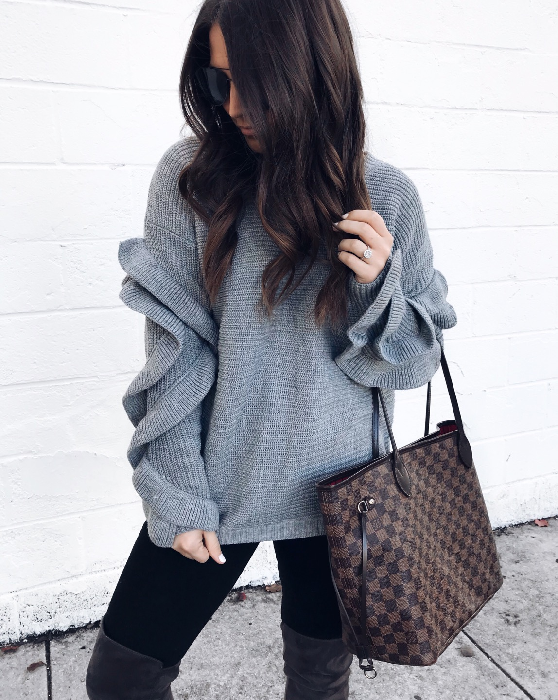 fall fashion, fall outfit idea, fall outfit inspiration, ruffle sleeve sweater, outfit of the day