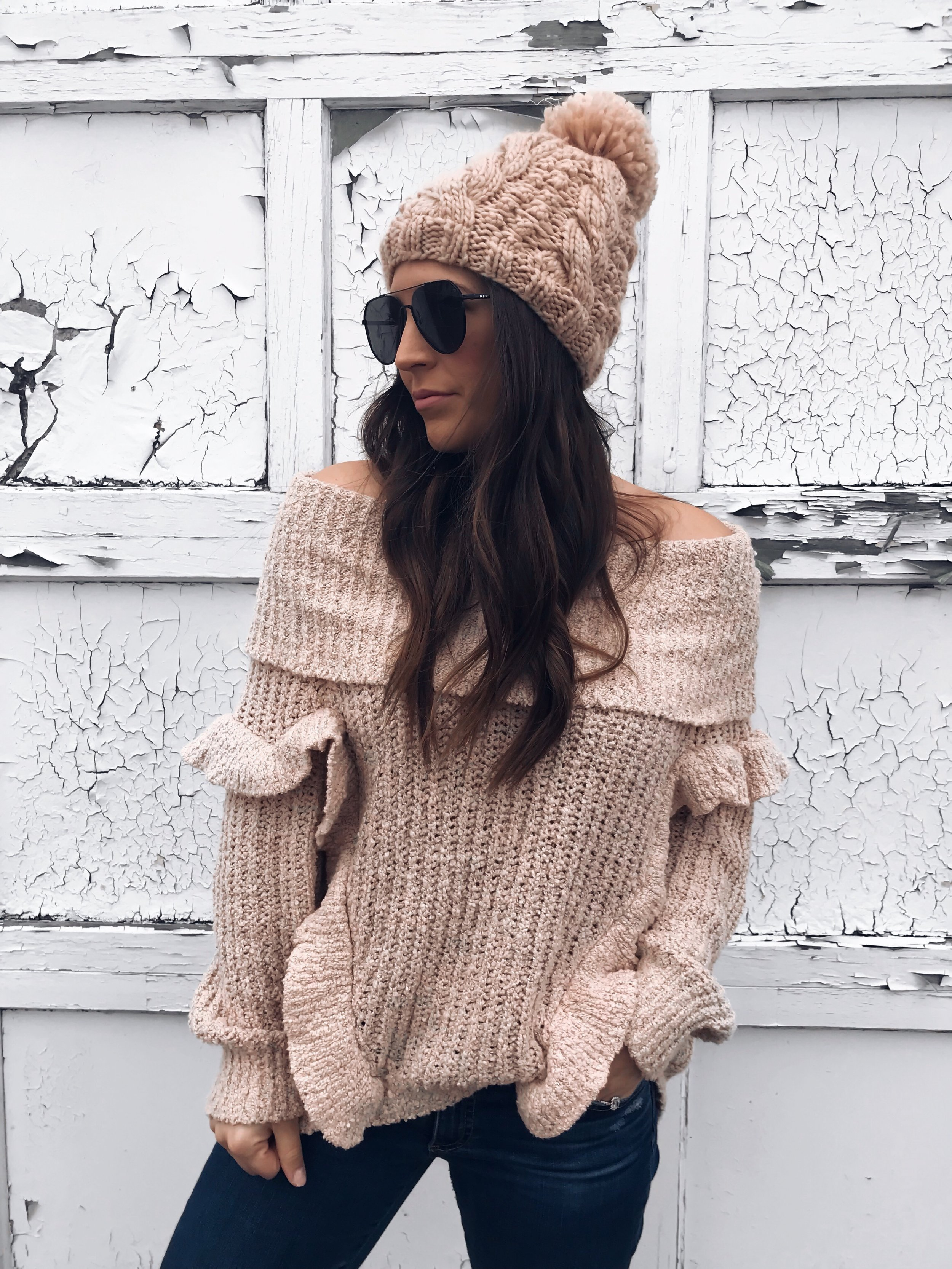 My Outfits That Are On Sale | Pine Barren Beauty | off the shoulder sweater, ruffle sweater, fall outfit idea, casual outfit idea, how to style a beanie, Black Friday sale