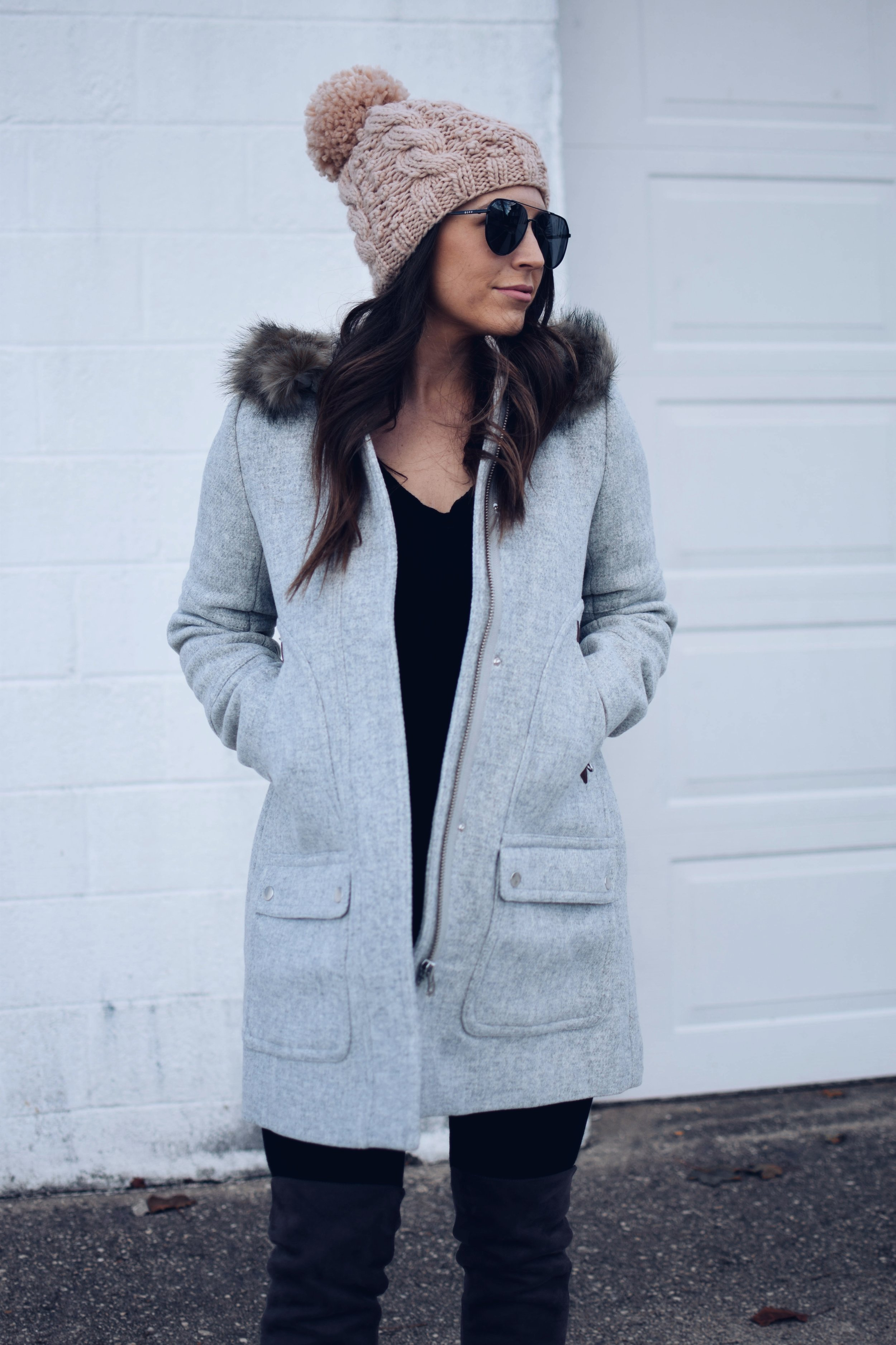 My Outfits On Sale | Pine Barren Beauty | J.Crew coat, Black Friday sales, winter coat, winter outfit idea, pom beanie