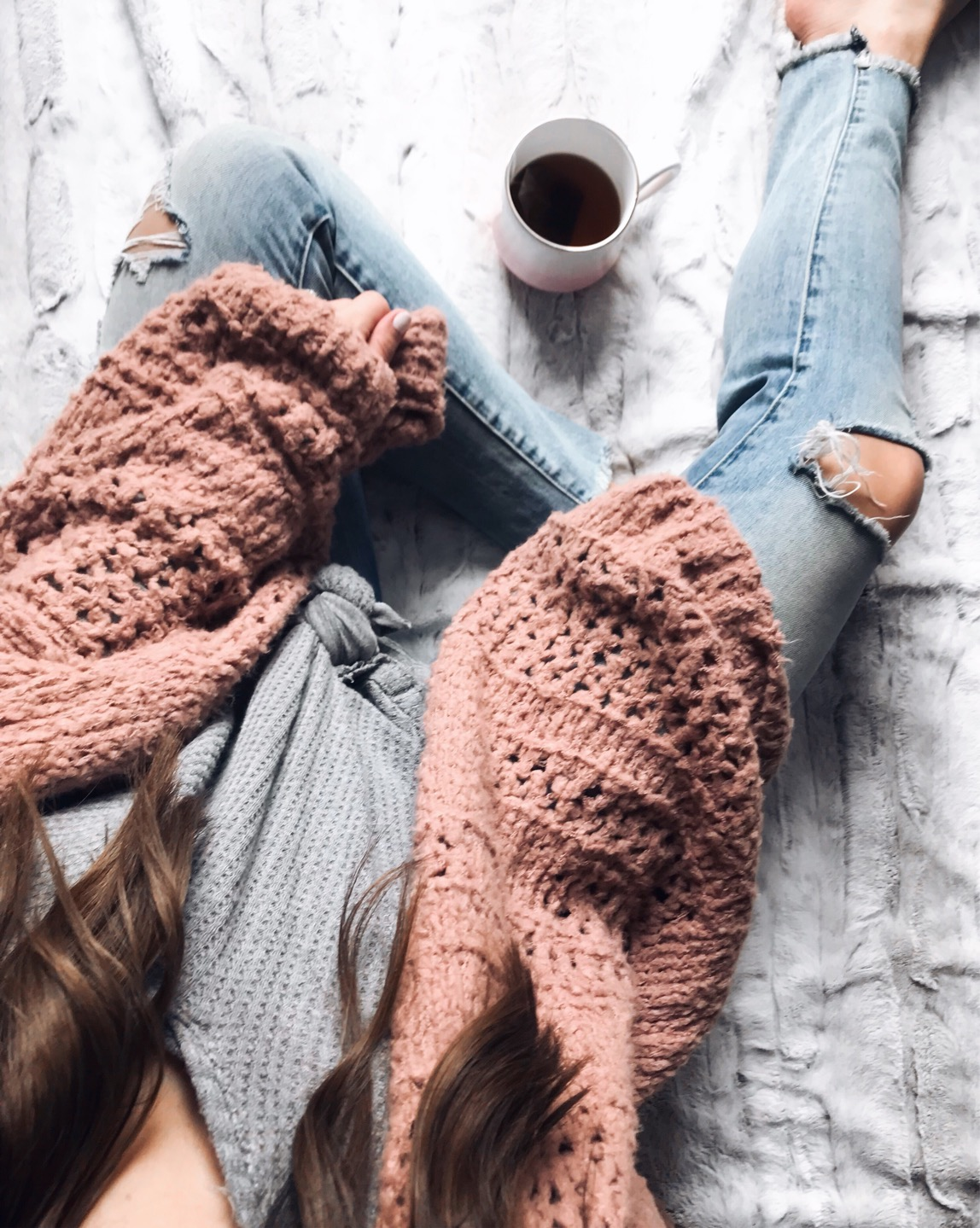 My Outfits On Sale | Pine Barren Beauty | free people outfit, cozy cardigan, distressed denim, fall fashion, flat lay, view from above, cozy vibes