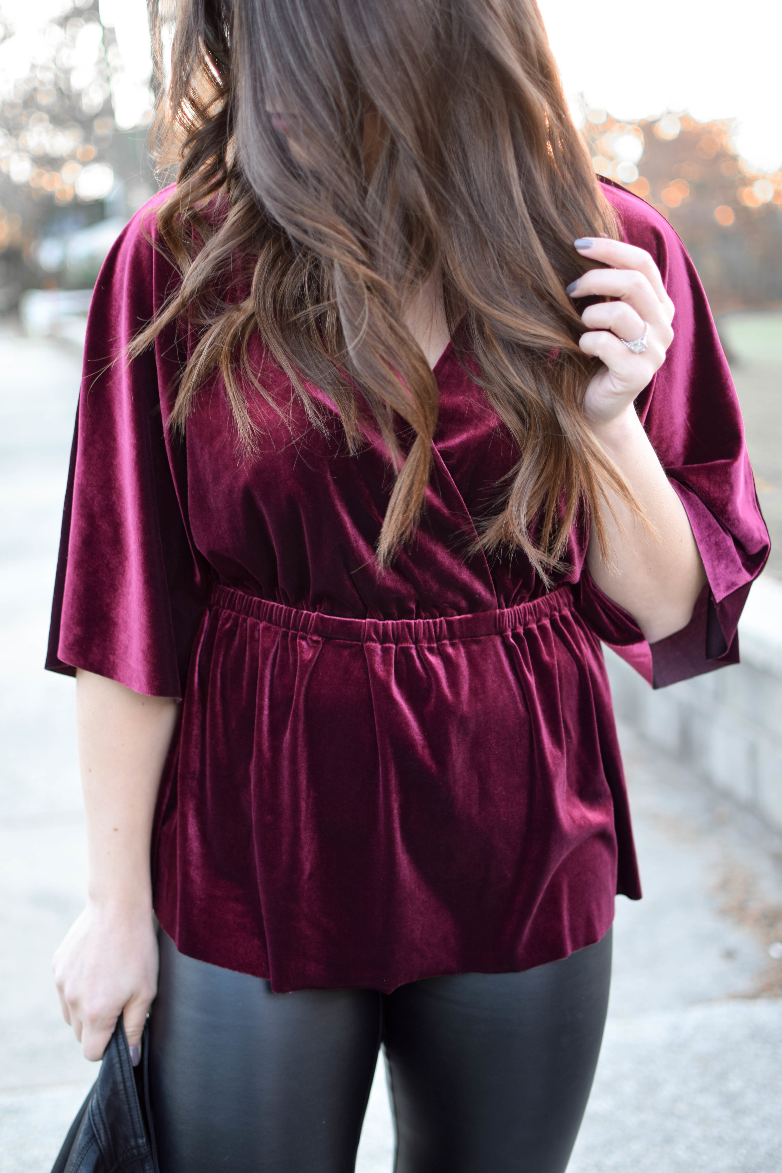 Holiday Outfit Idea #1: Velvet | Pine Barren Beauty | winter fashion, winter style, holiday fashion, velvet top, faux leather pants