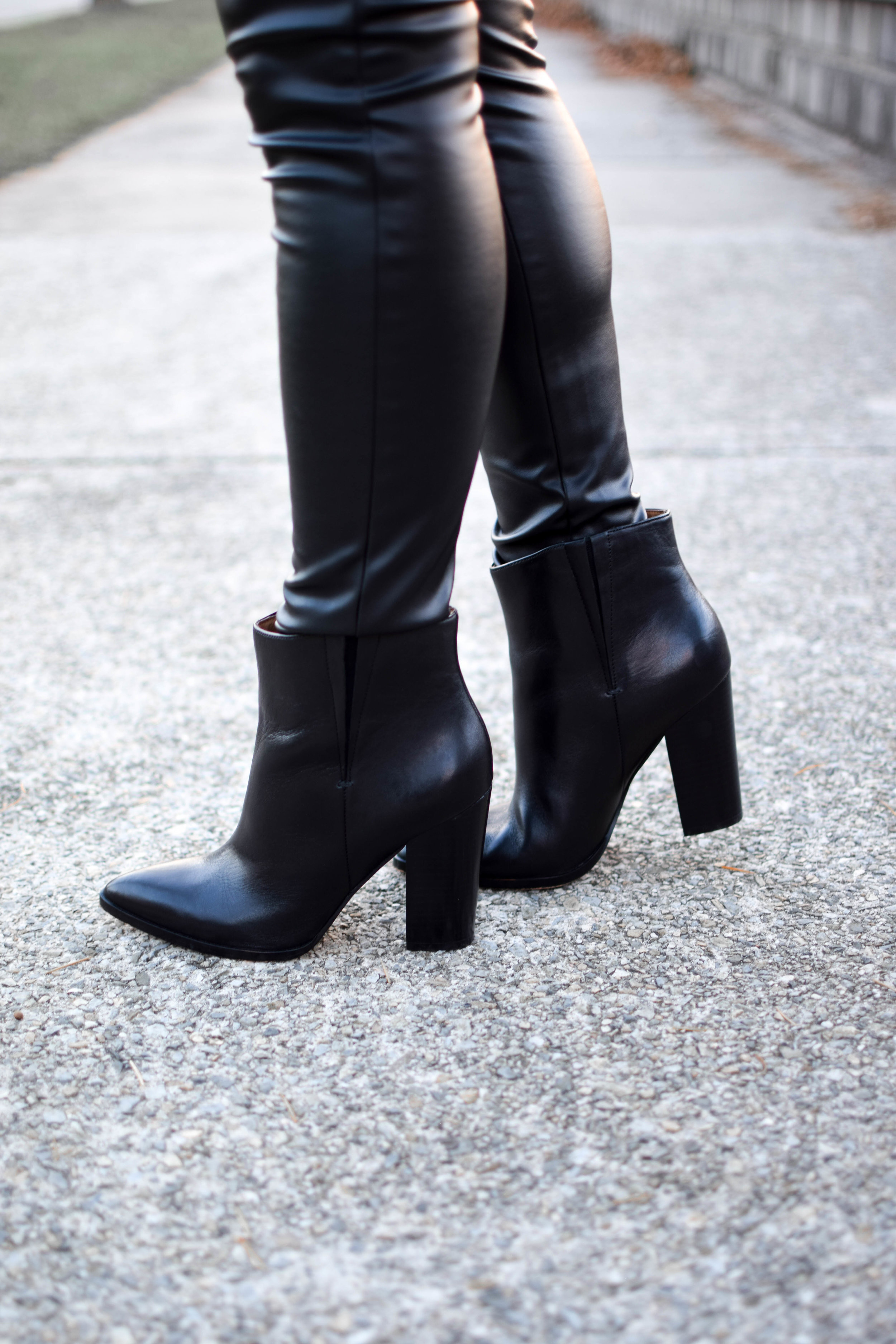 Holiday Outfit Idea #1: Velvet | Pine Barren Beauty | winter fashion, winter style, holiday fashion, pointed toe booties, black leather booties