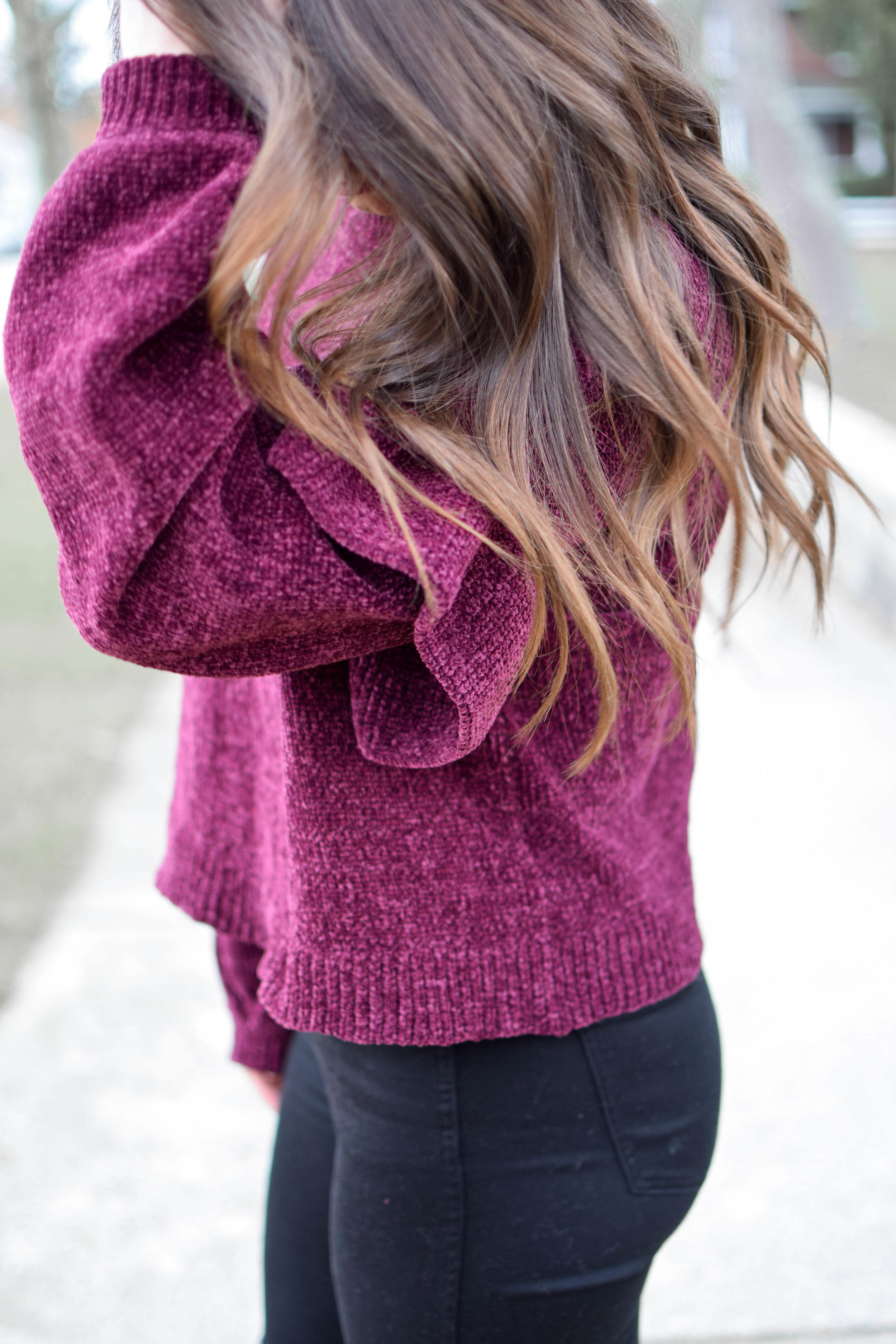 Holiday Outfit Idea: Chenille Ruffle Sleeve Sweater | Pine Barren Beauty | winter outfit idea, winter outfit inspiration, Christmas outfit idea, over the knee boots, black high waisted denim , hair goals