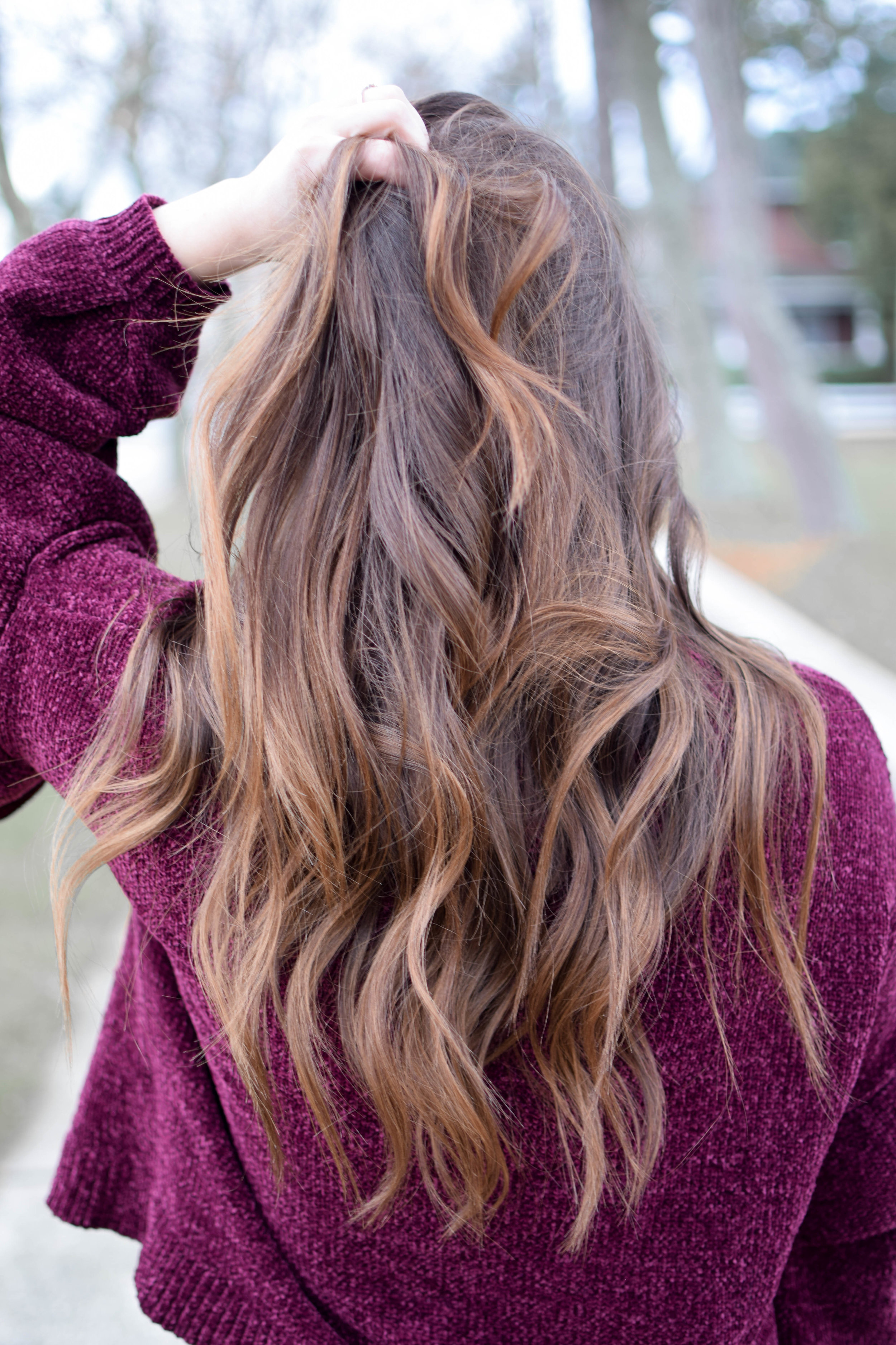 Holiday Outfit Idea: Chenille Ruffle Sleeve Sweater | Pine Barren Beauty | winter outfit idea, winter outfit inspiration, Christmas outfit idea, over the knee boots, black high waisted denim, hair goals, long wavy hair