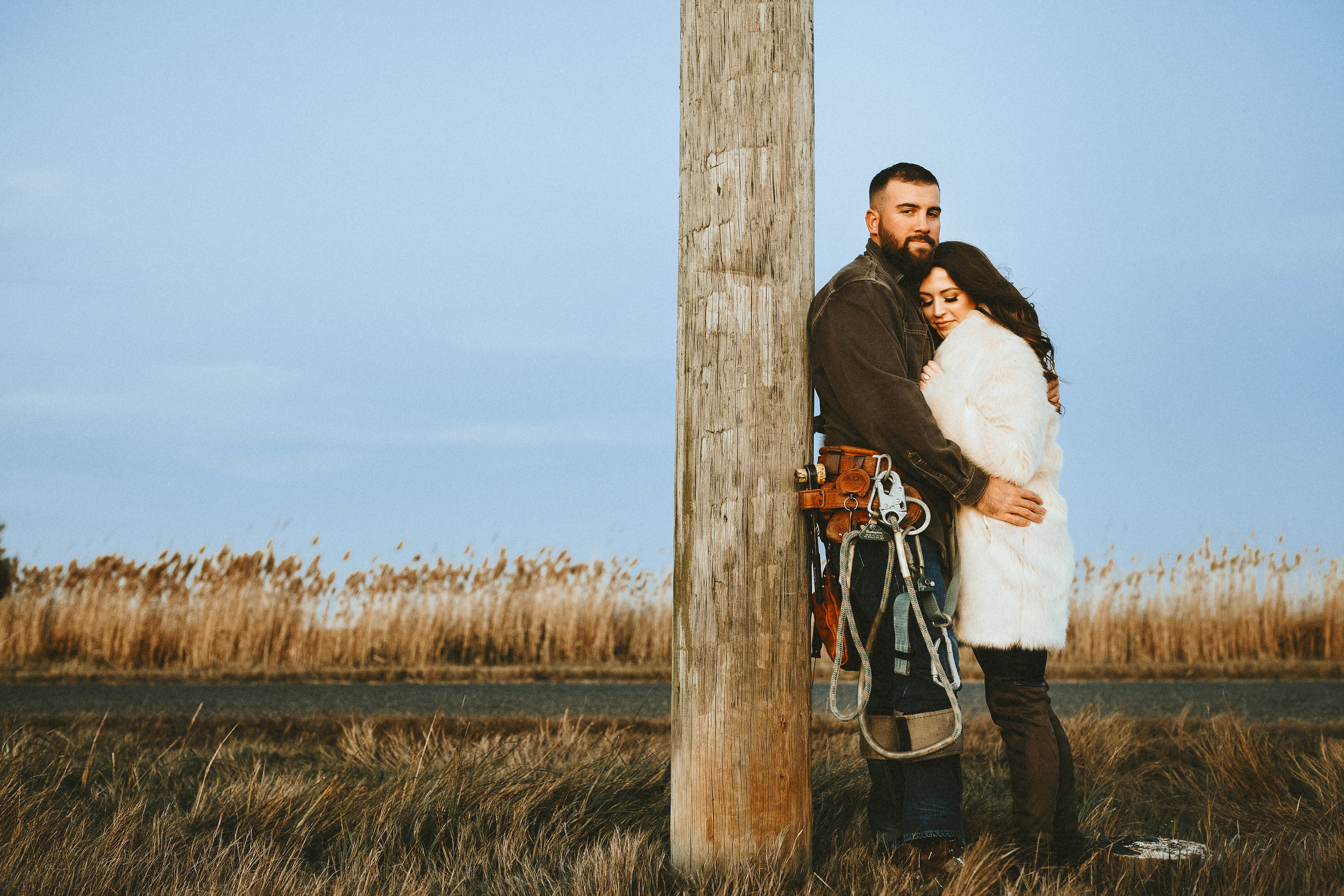 Our Engagement Photos | Pine Barren Beauty | engagement photos, engagement photo ideas, what to wear for fall engagement photos, lineman engagement photos, wedding inspiration, bride to be