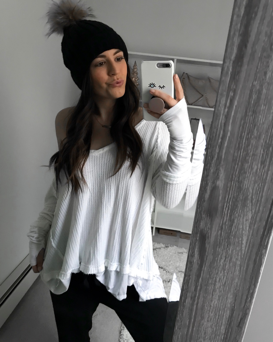 Weekend Sales & Instagram Round Up | Pine Barren Beauty | winter fashion, winter outfit idea, winter essentials, free people thermal, black beanie, how to style joggers