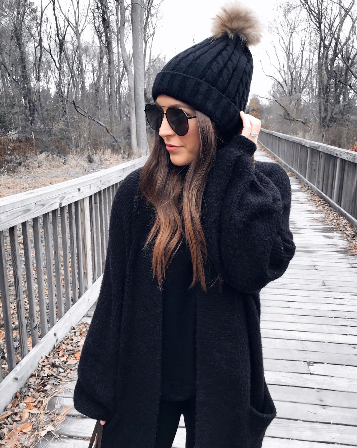 Weekend Sales & Instagram Round Up | Pine Barren Beauty | winter fashion, winter outfit idea, winter essentials, all black outfit idea, outfit of the day, black beanie, cozy cardigan