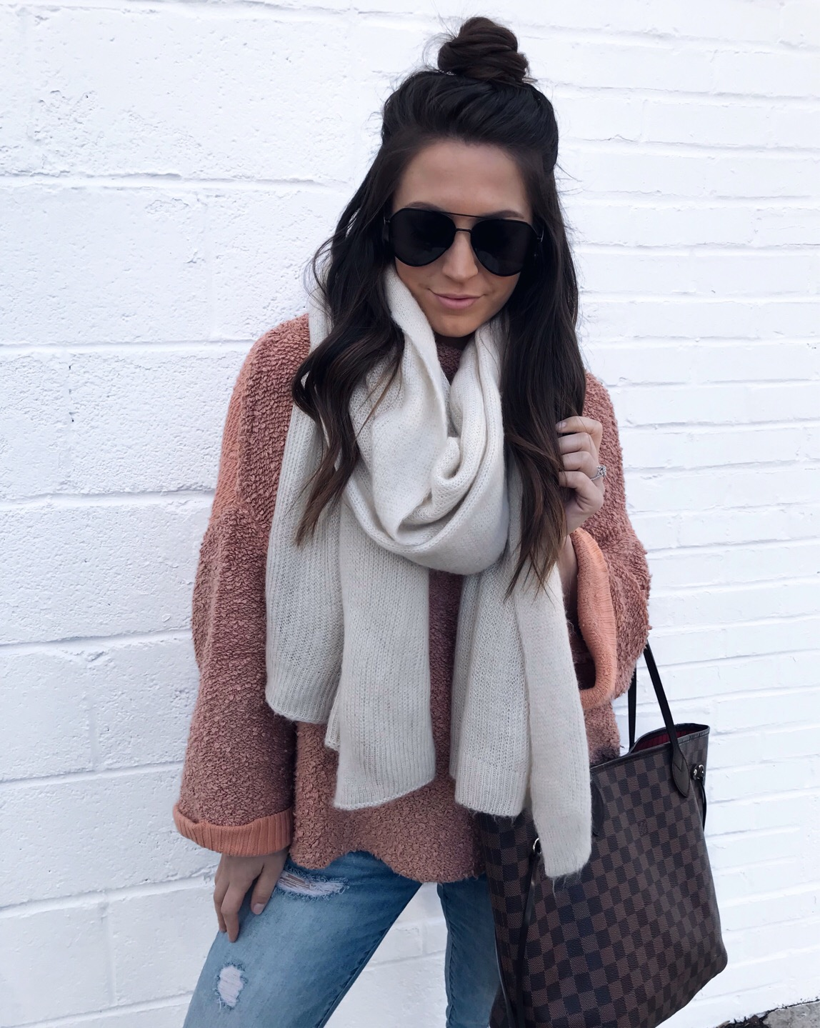Weekend Sales & Instagram Round Up | Pine Barren Beauty | winter fashion, winter outfit idea, free people scarf, half up top knot, cozy outfit idea