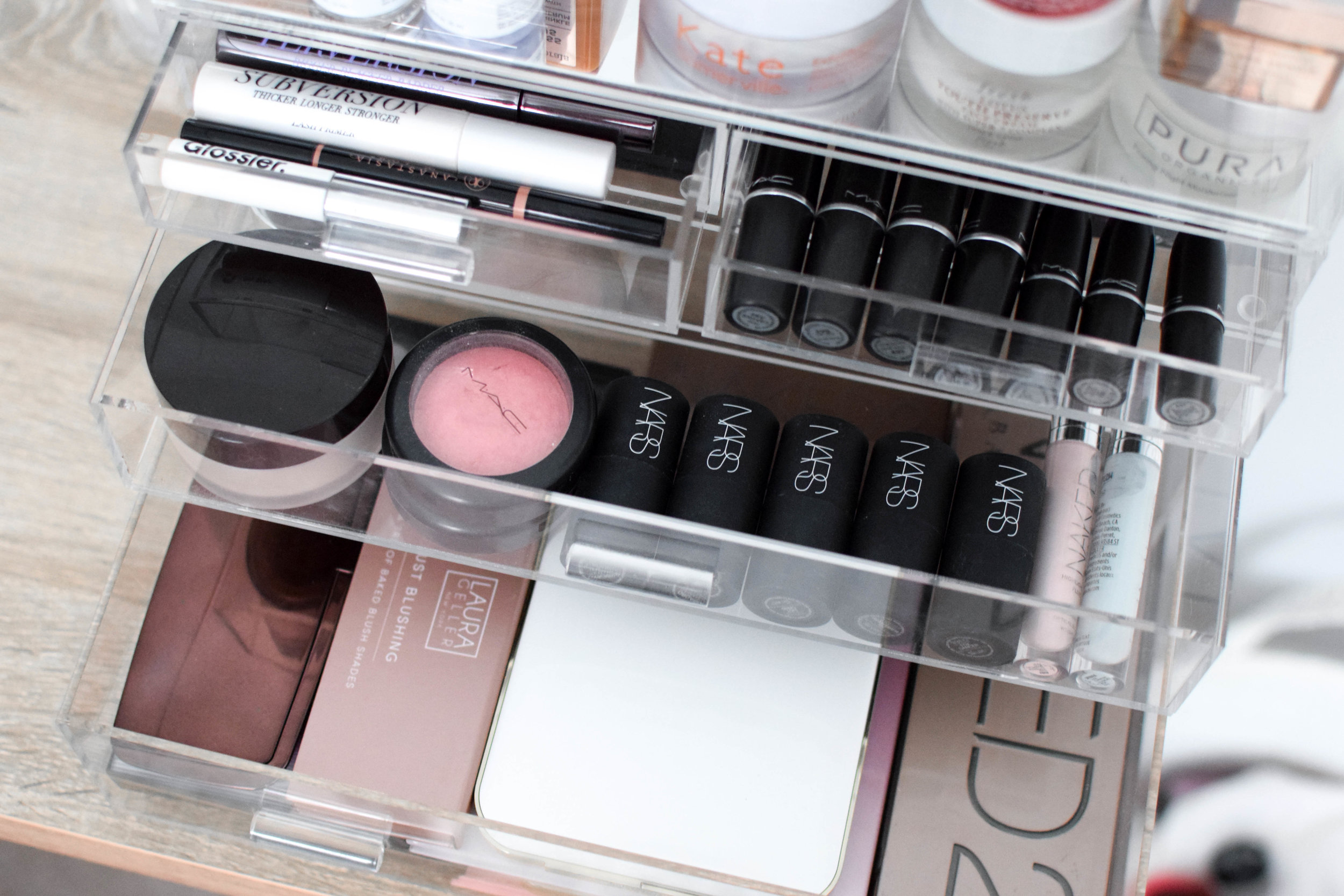 How I Store & Organize My Makeup Products | Pine Barren Beauty | makeup storage, skincare storage, acrylic makeup storage, beauty products, skincare products, makeup products
