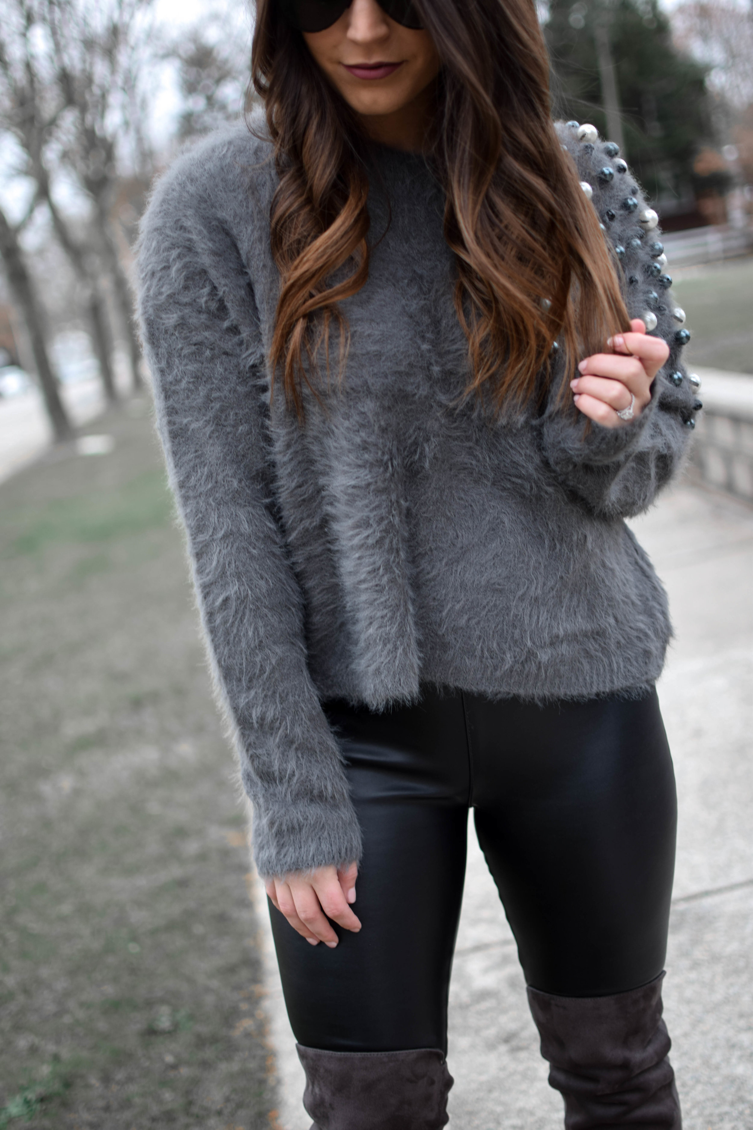 How to Style an Embellished Sweater | Pine Barren Beauty | winter outfit idea, winter outfit inspiration, winter fashion, holiday outfits idea, embellished sweater, sweater with pearls