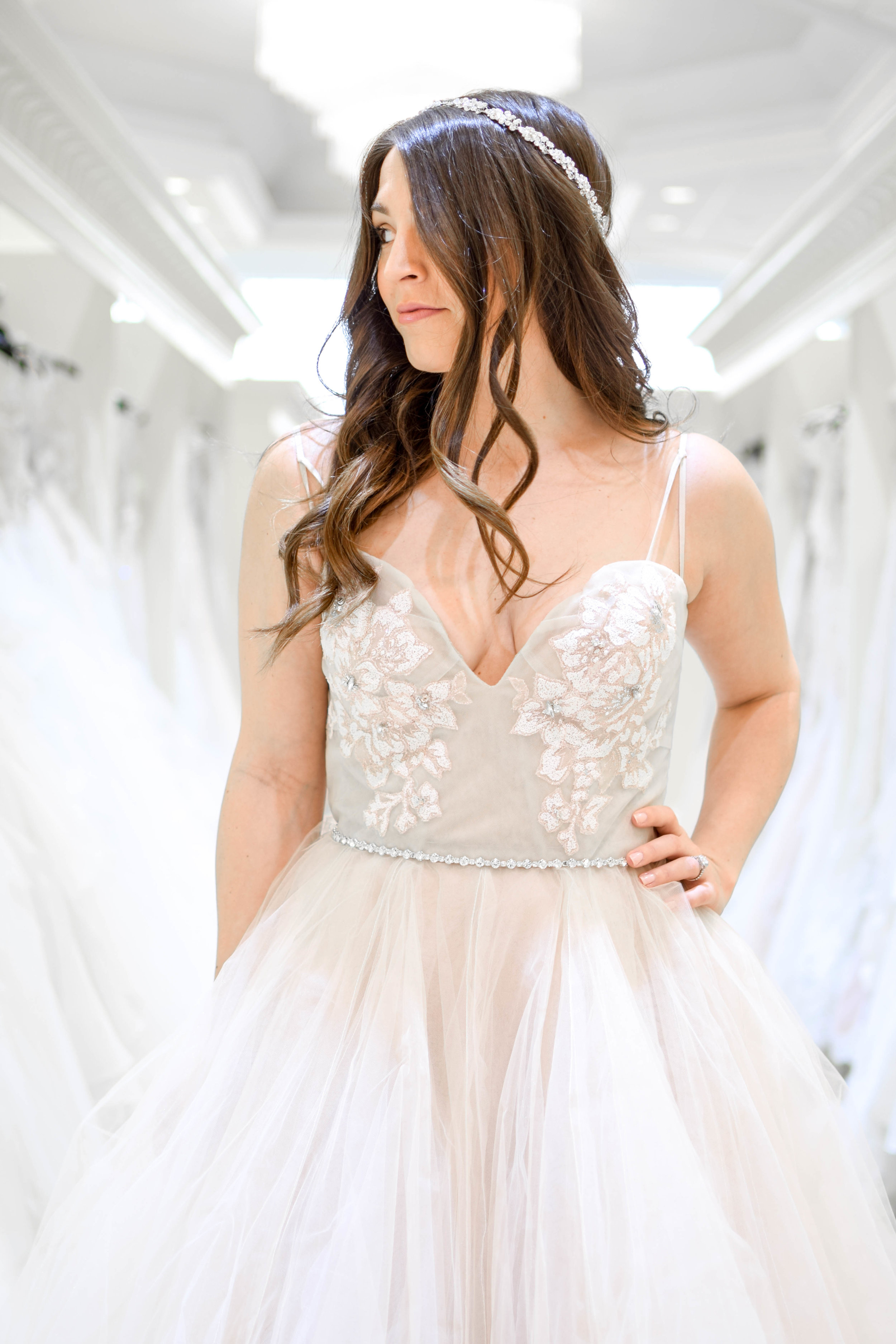 Three Tips for Finding the Perfect Wedding Dress | Pine Barren Beauty | wedding inspiration, wedding dress idea, blush wedding dress, Hayley Paige wedding dress, castle couture