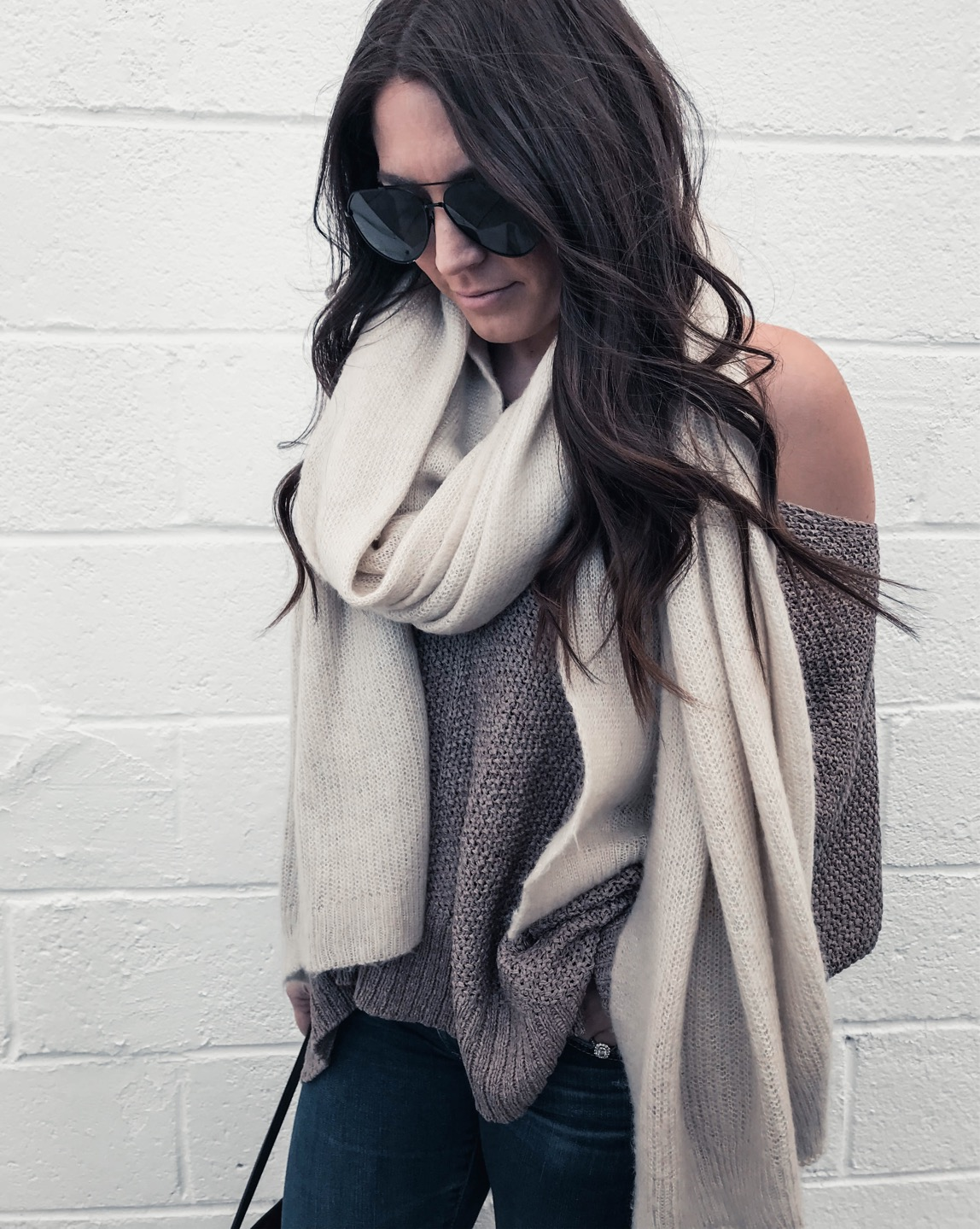 Instagram Round Up | Pine Barren Beauty | spring transition outfit idea, free people scarf, off the shoulder sweater