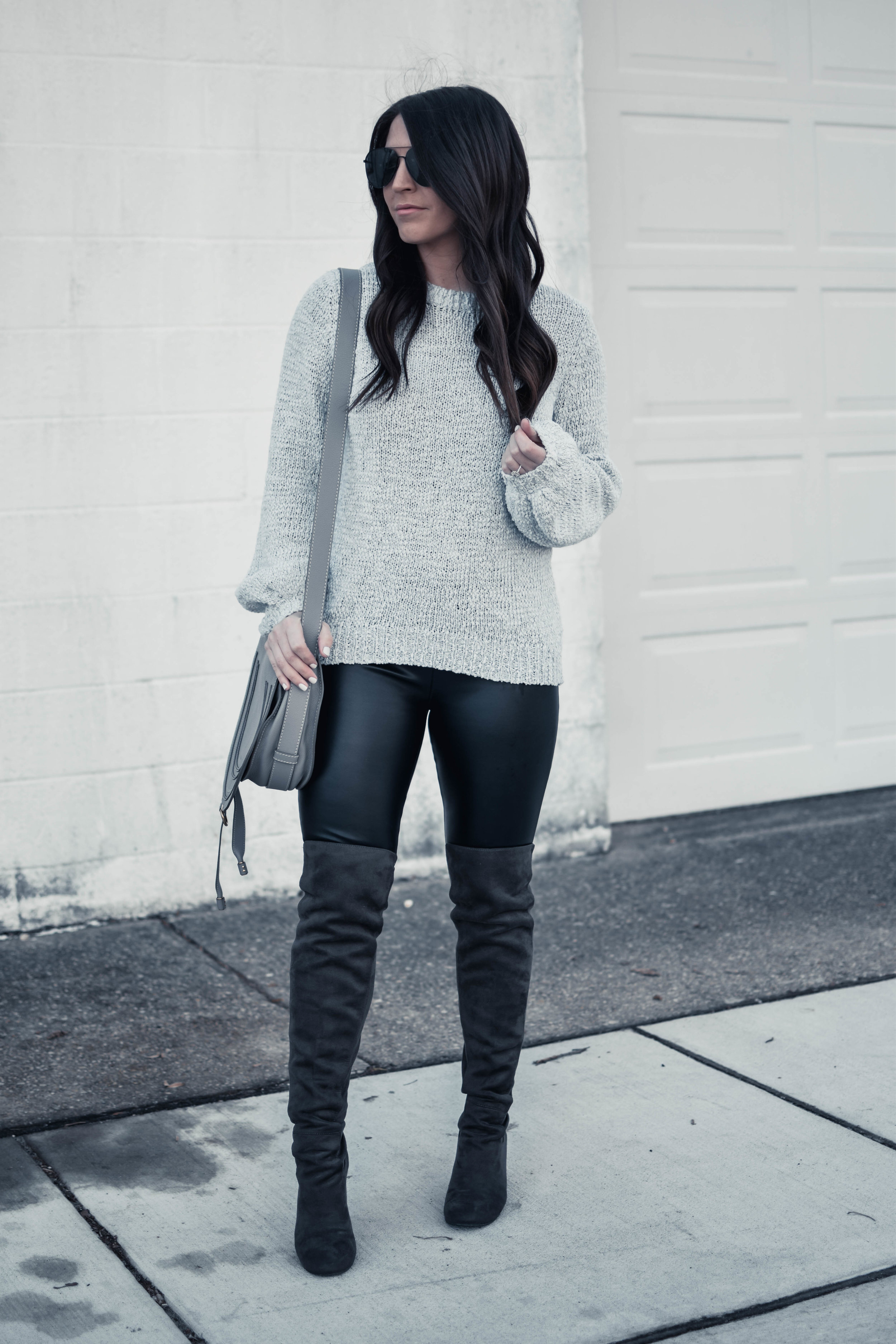 Balloon Sleeve Sweater + Faux Leather Leggings | Pine Barren Beauty | light weight sweater, spring transition outfit idea, over the knee boots, winter outfit idea, cozy outfit idea