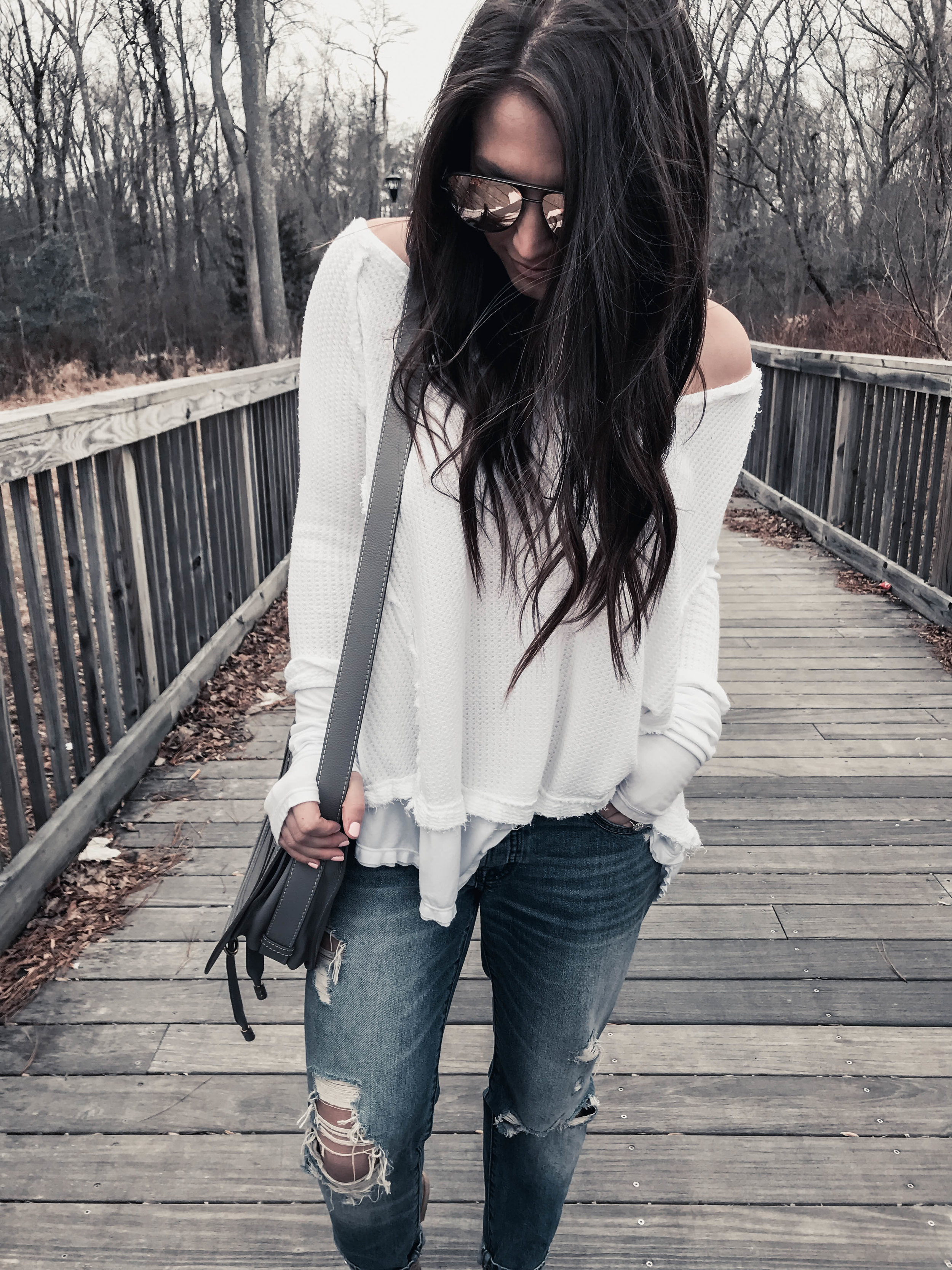 Nordstrom Winter Sale + Instagram Round Up | Pine Barren Beauty | white thermal, distressed denim, Chloe bag, spring outfit idea, comfy outfit idea