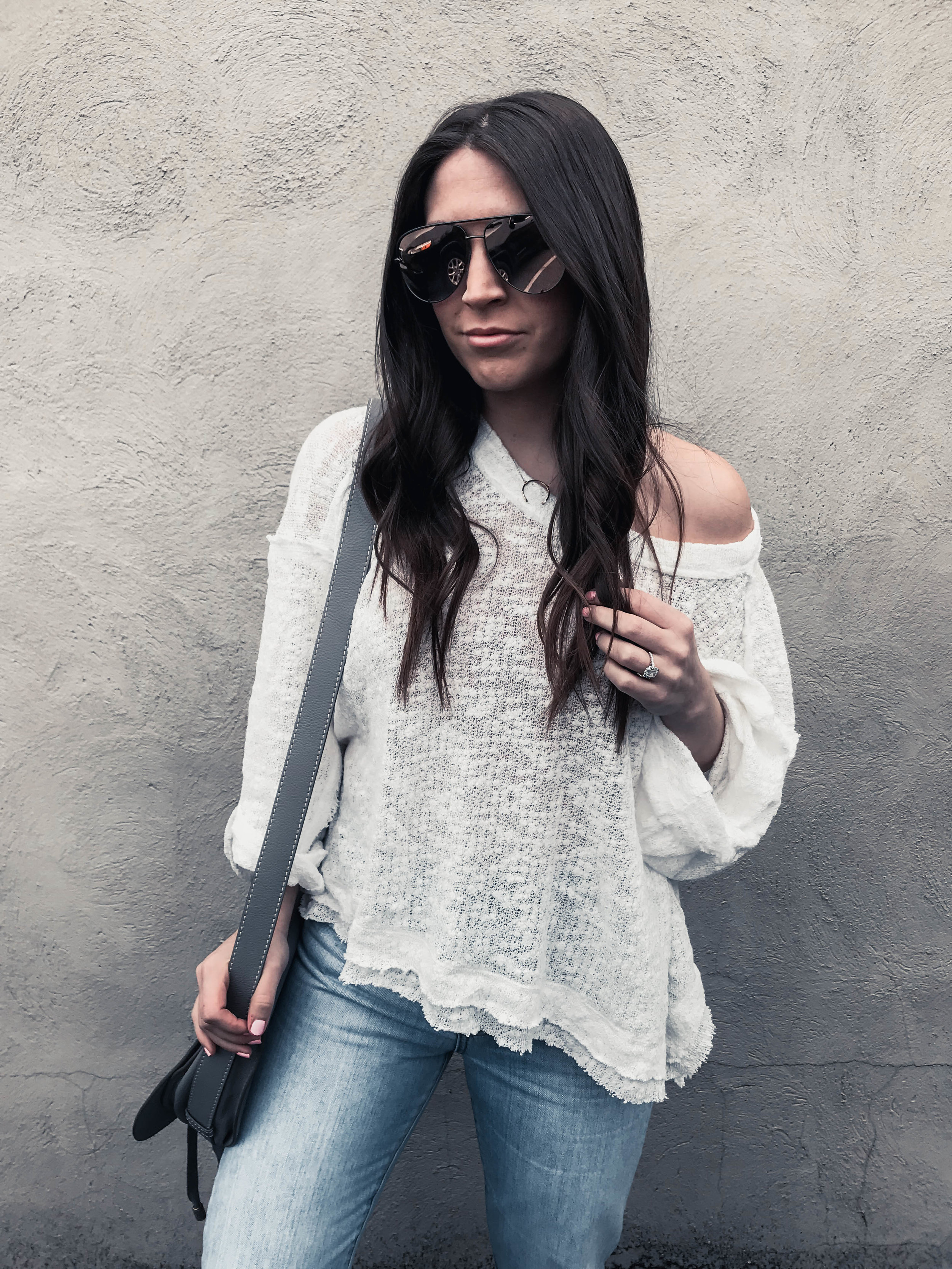 Must Have White Top for Spring | Pine Barren Beauty | spring outfit idea, spring transition outfit idea, white flowy top, distressed denim, Chloe bag