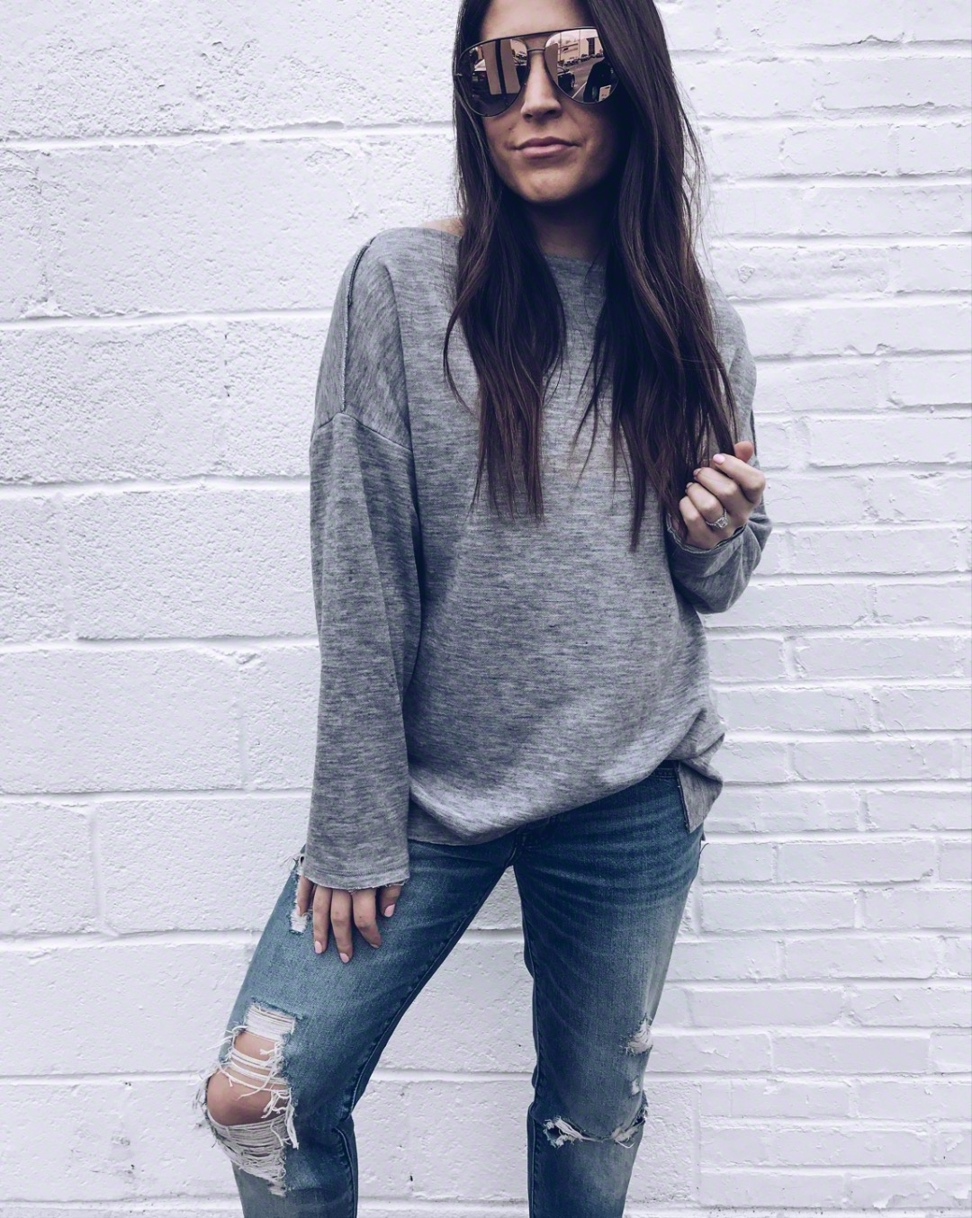 Must Have White Top for Spring | Pine Barren Beauty | spring outfit idea, spring transition outfit idea, grey pullover, distressed denim