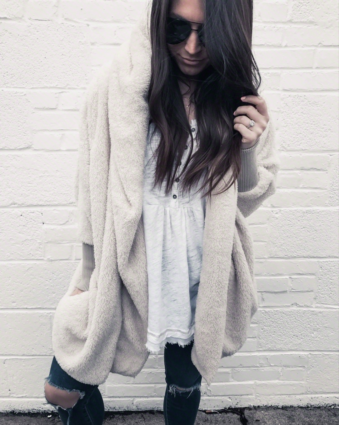 Must Have White Top for Spring | Pine Barren Beauty | winter outfit idea, winter layers, teddy bear hoodie, cozy outfit idea