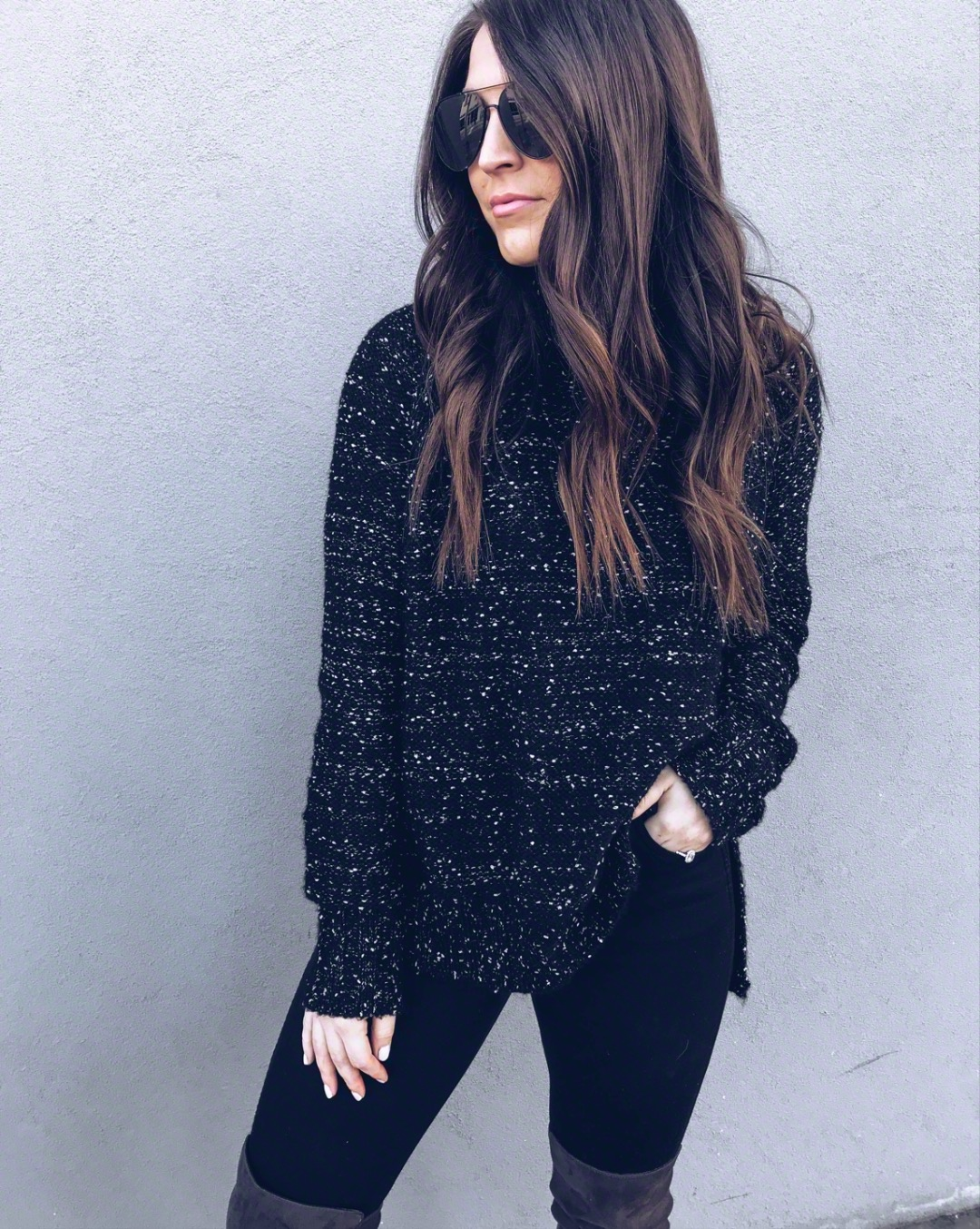 Must Have White Top for Spring | Pine Barren Beauty | winter outfit idea, winter fashion, black + white turtleneck, black denim, over the knee boots, hair goals