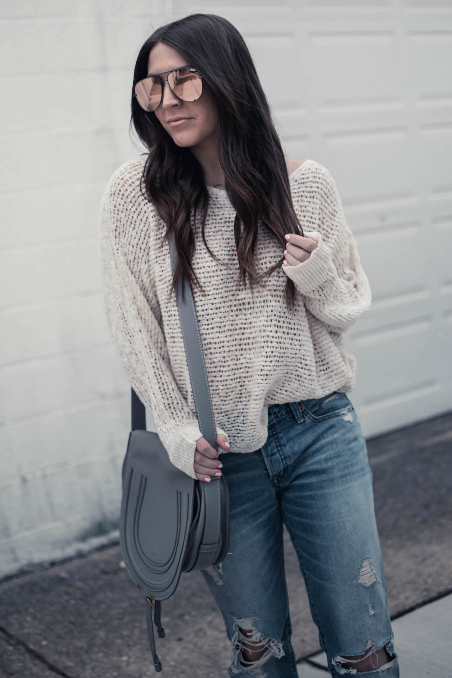 Styling Distressed Denim for the Spring Transition | Pine Barren Beauty | light weight sweater + distressed denim, Abercrombie denim, oversized sunglasses, spring outfit idea, spring transition outfit idea, spring outfit inspiration, Chloe bag