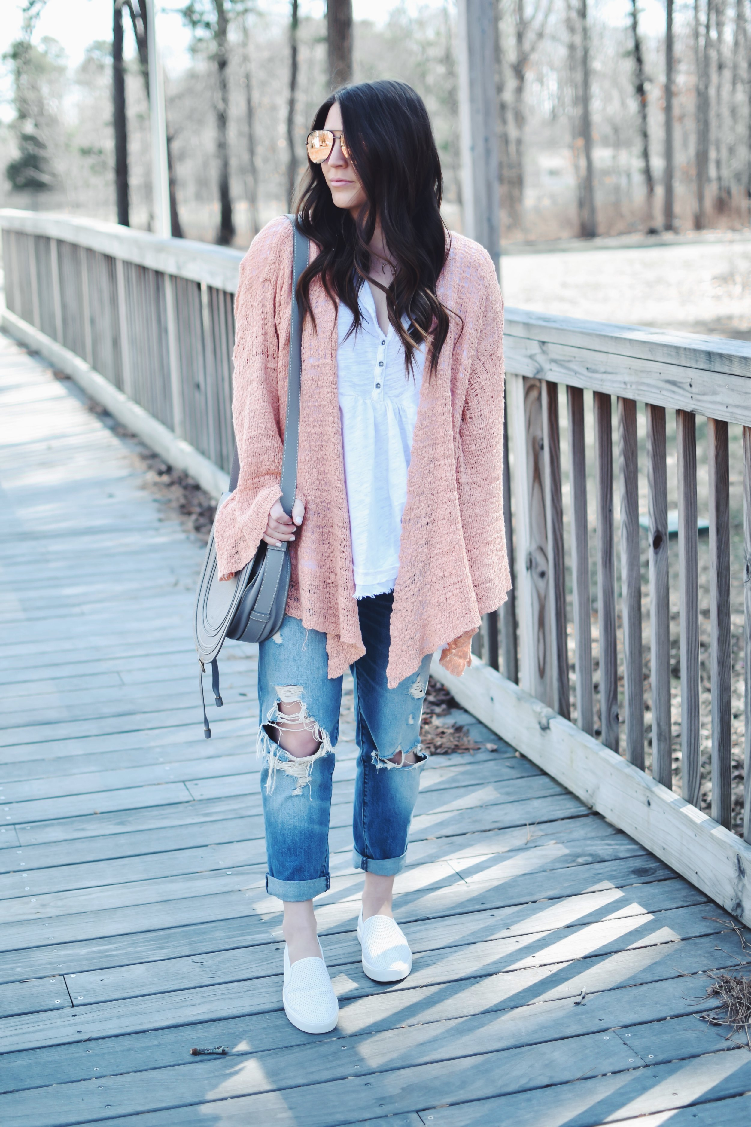 Easy Spring Outfit | Pine Barren Beauty | spring outfit idea, spring outfit inspiration, free people cardigan, Abercrombie distressed boyfriend jeans, Vince slip ons, Chloe bag